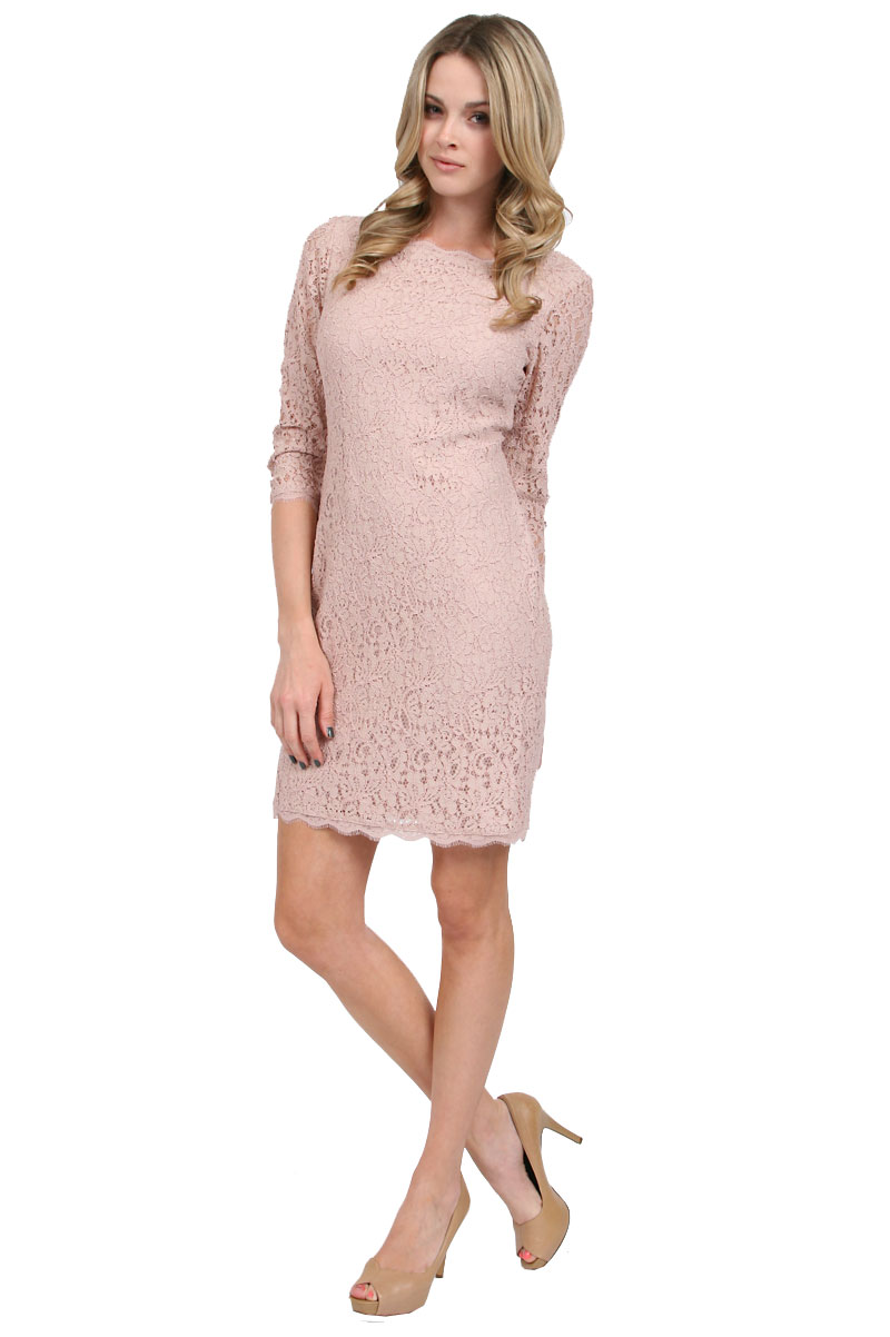Adrianna papell Long Sleeve Lace Dress in Blush in Pink (blush) | Lyst