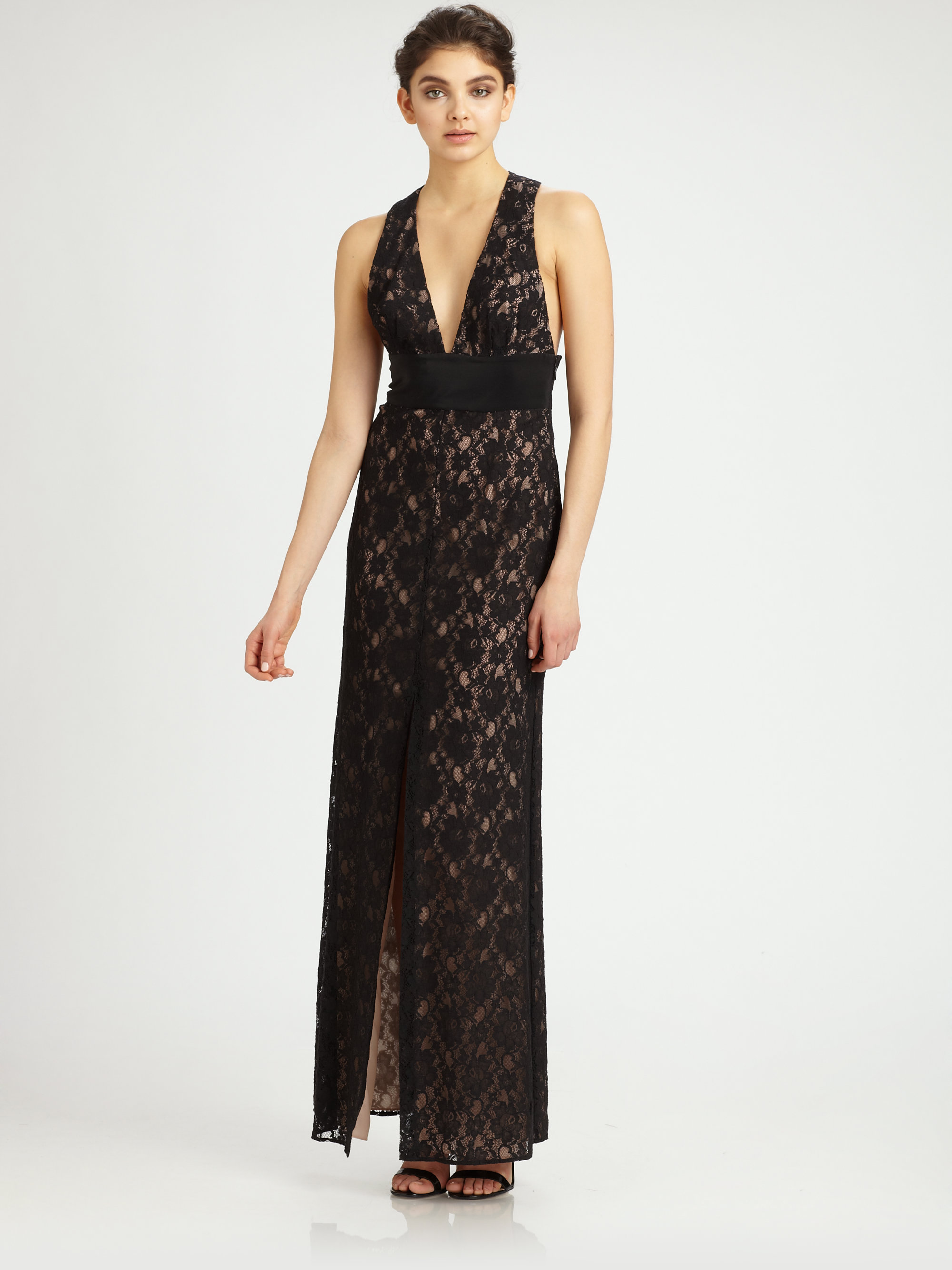 Lyst - Bcbgmaxazria Lace Gown in Black