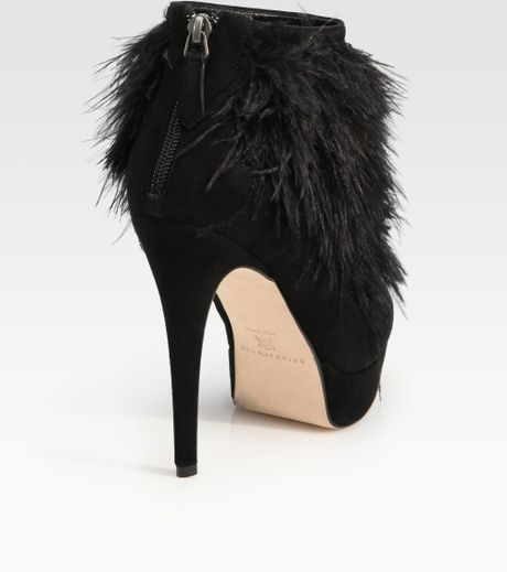 Brian Atwood Alexa Suede And Ostrich Feather Ankle Boots