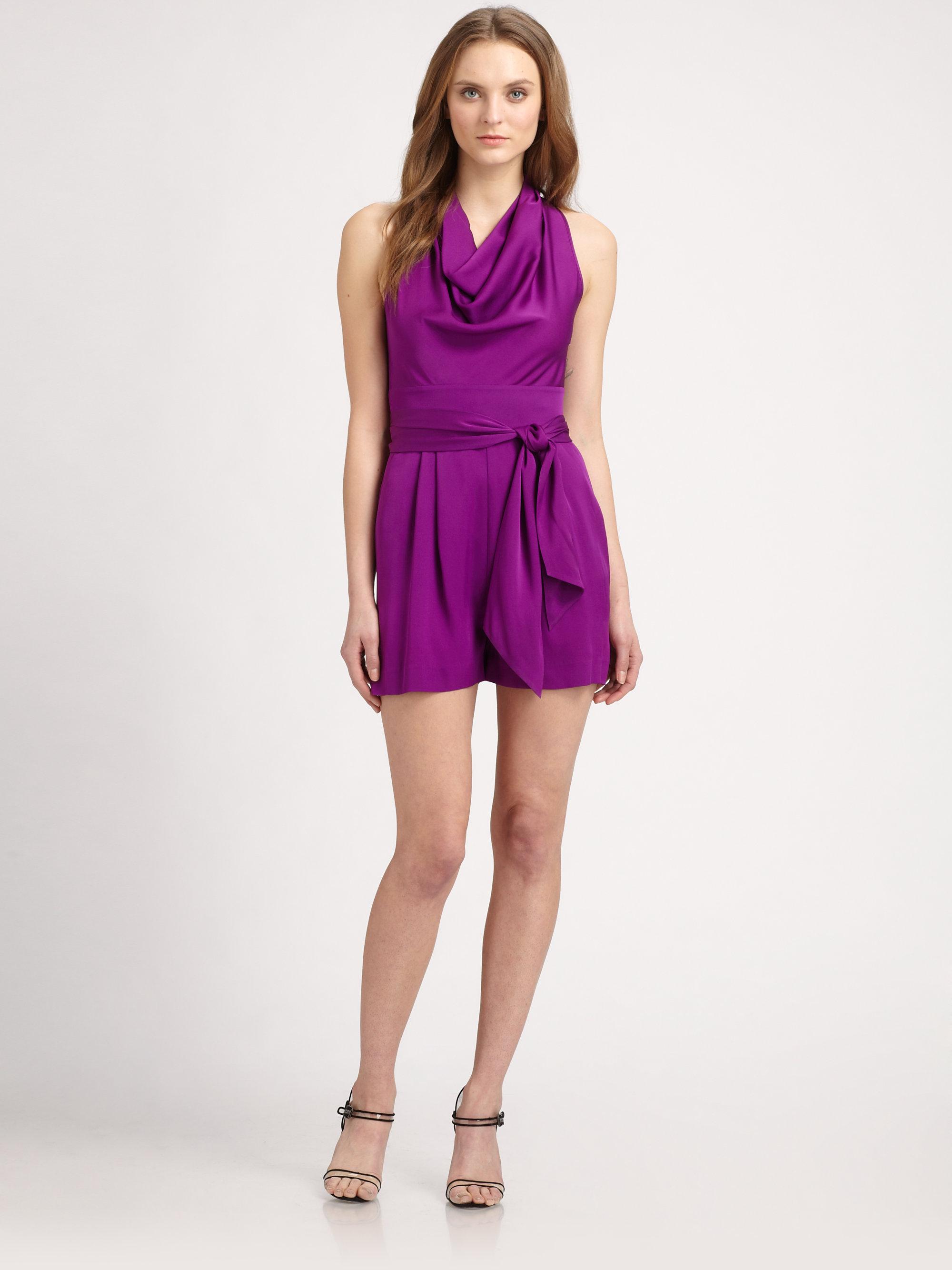 Lyst - Catherine Malandrino Belted Short Jumpsuit in Purple