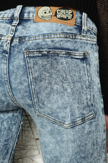 Cheap Monday Acid Wash Used Second Skin Jeans in Blue