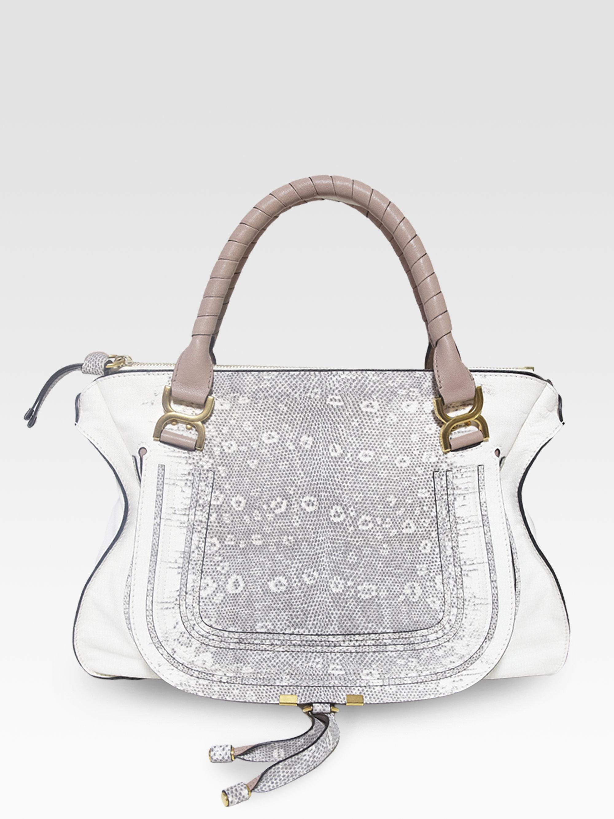 Chlo¨¦ Marcie Lizard Embossed Leather Shoulder Bag in White (black ...