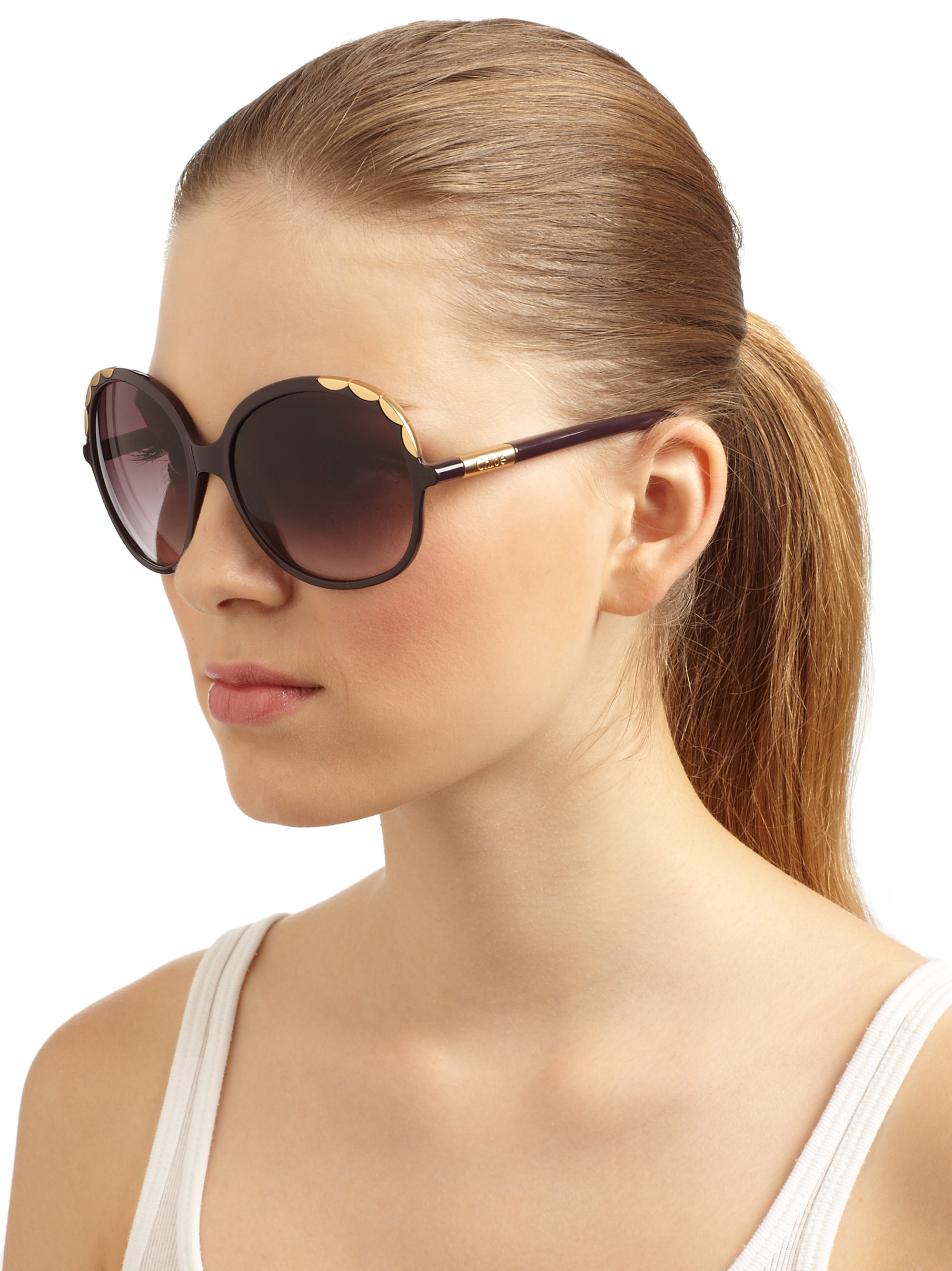9f84a2b9f3 Chloé Oversized Scalloped Acetate Sunglasses in Black - Lyst