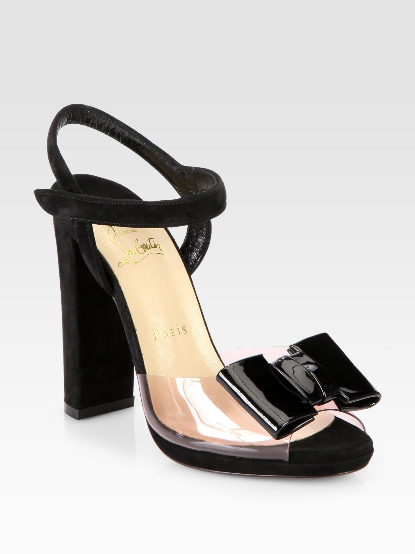 promo code e05de bb12e Christian Louboutin Black One Bow Suede Patent Leather Sandals