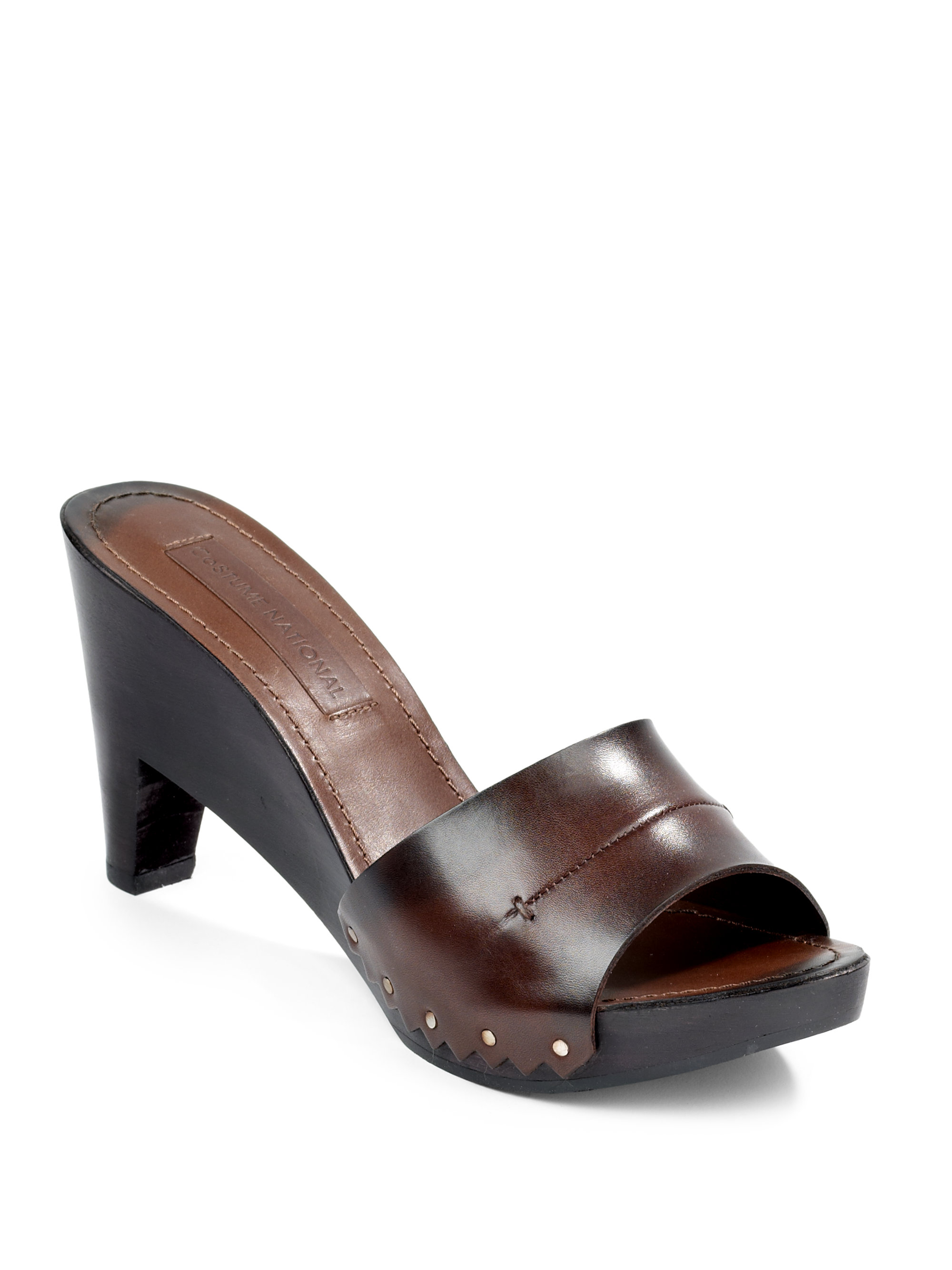 Costume National Stud Leather Wood Clog Sandals In Brown