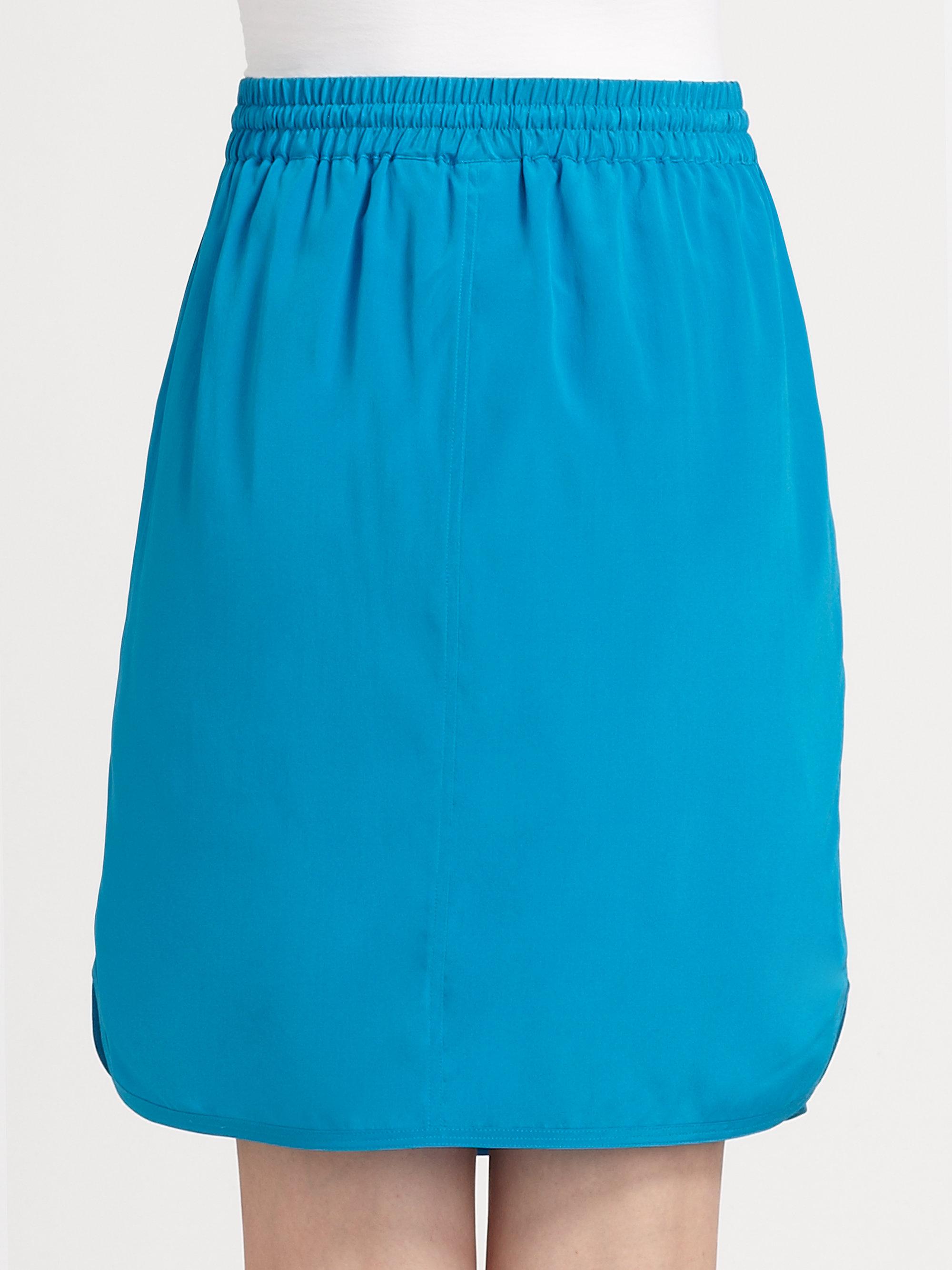 dkny stretch silk drawstring skirt in blue black lyst