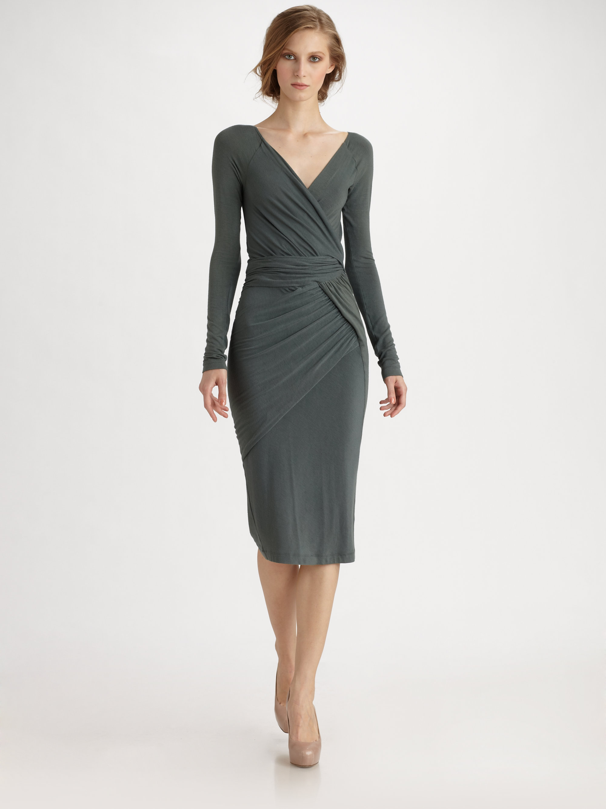 Donna karan new york ruched jersey dress in gray solstice for Donna karen new york