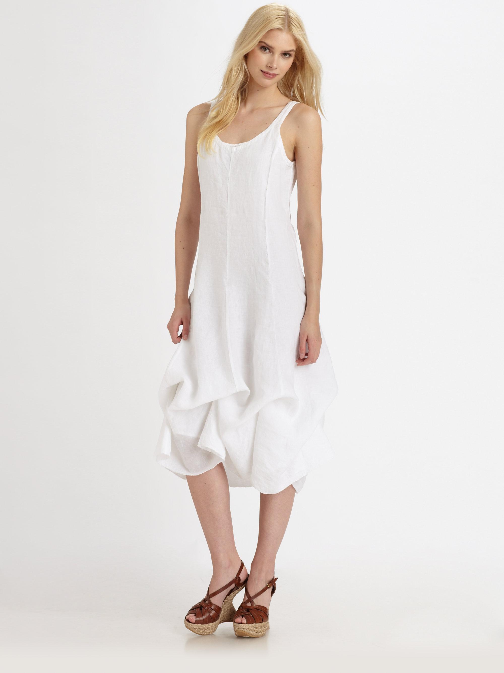 Lyst Eileen Fisher Handkerchief Linen Dress In White