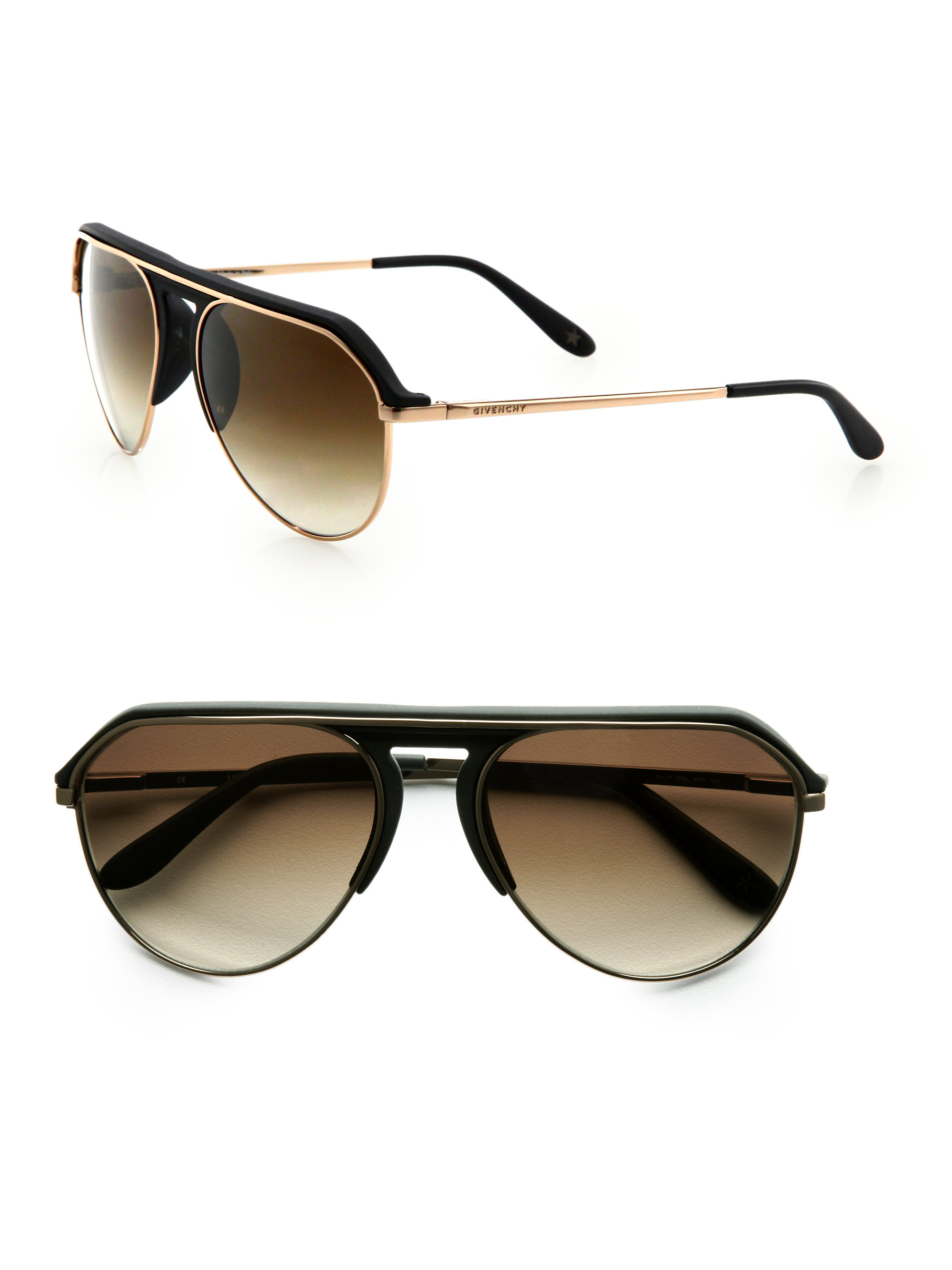 Givenchy Modified Aviator Sunglasses In Brown For Men Lyst