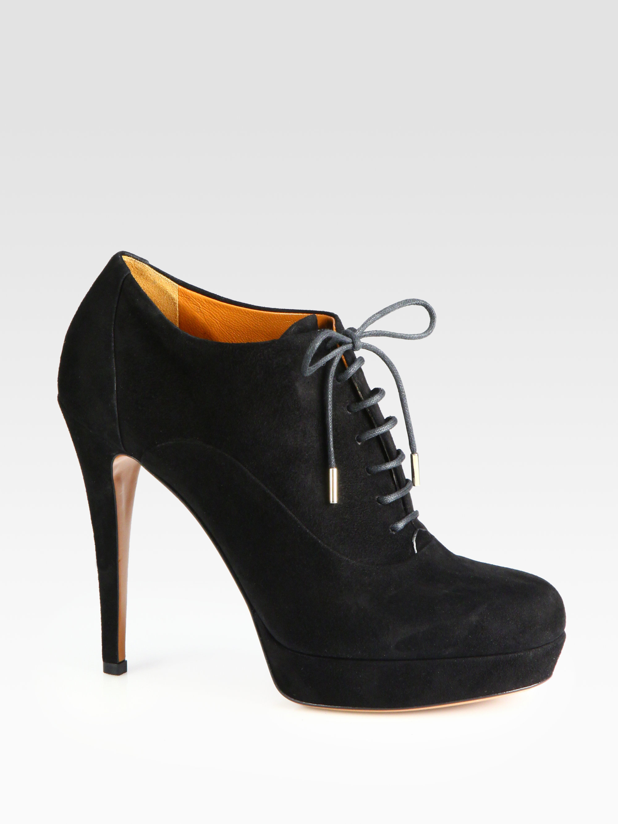 gucci suede laceup platform ankle boots in black lyst