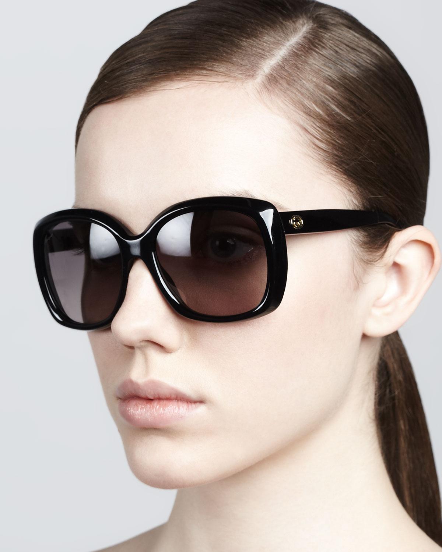 a983524a1c5d0 Lyst - Gucci Plastic Square Sunglasses in Black