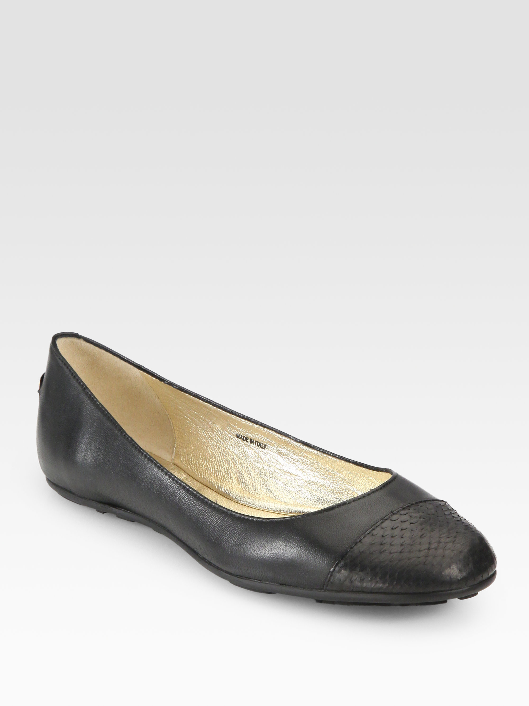 79fb956c167 ... italy lyst jimmy choo whirl snakeskin leather ballet flats in black  10d74 364a0