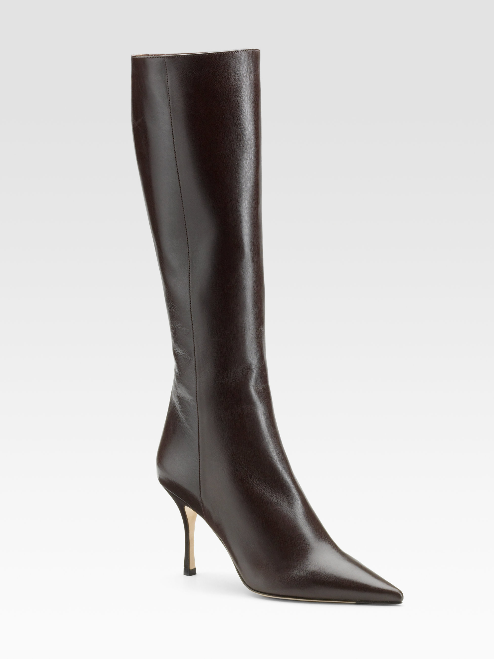 Lyst Jimmy Choo Iron Kid Leather Kneehigh Boots In Brown