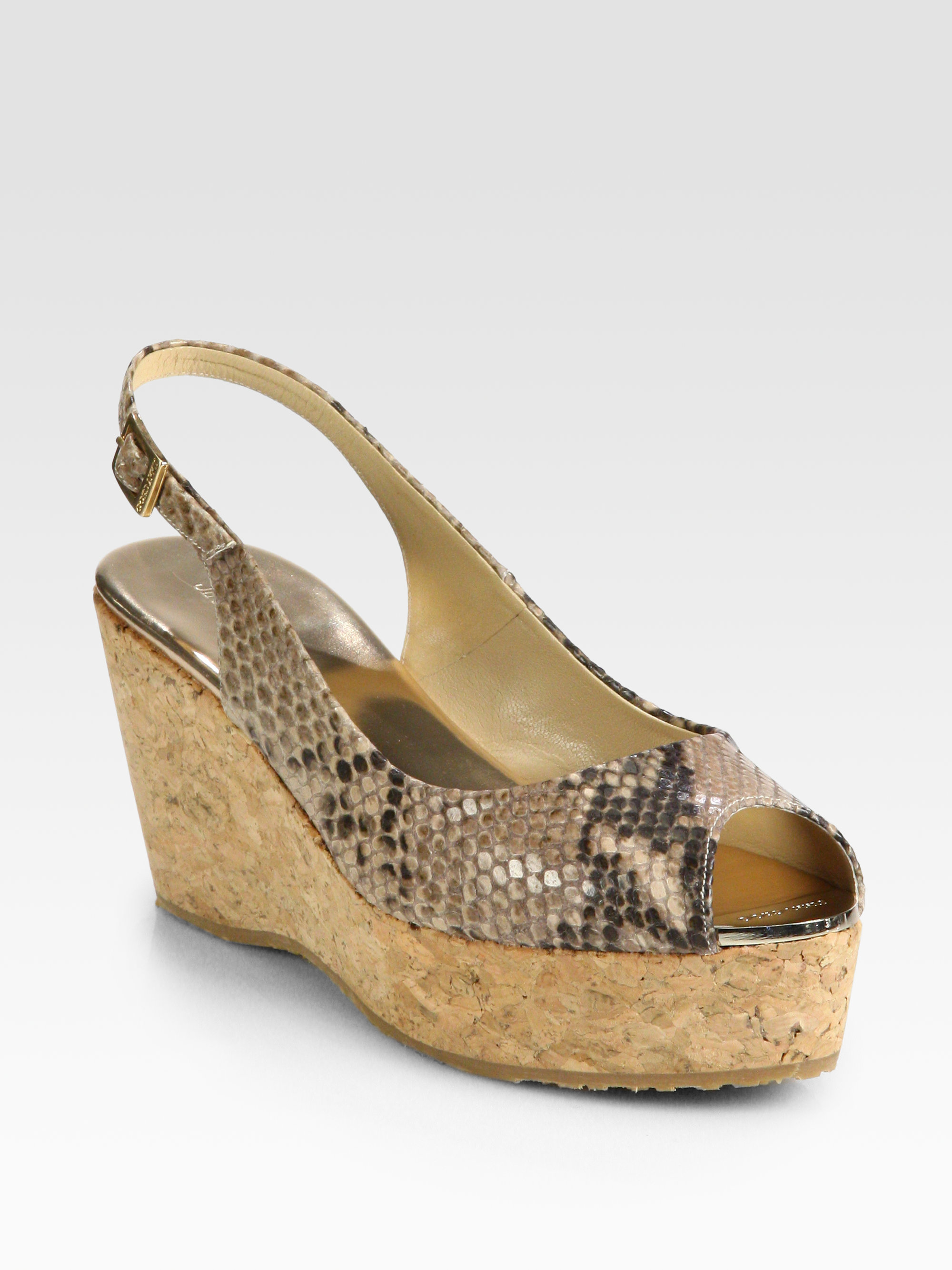 Jimmy Choo Praise Snakeprint Leather Cork Wedge Sandals In