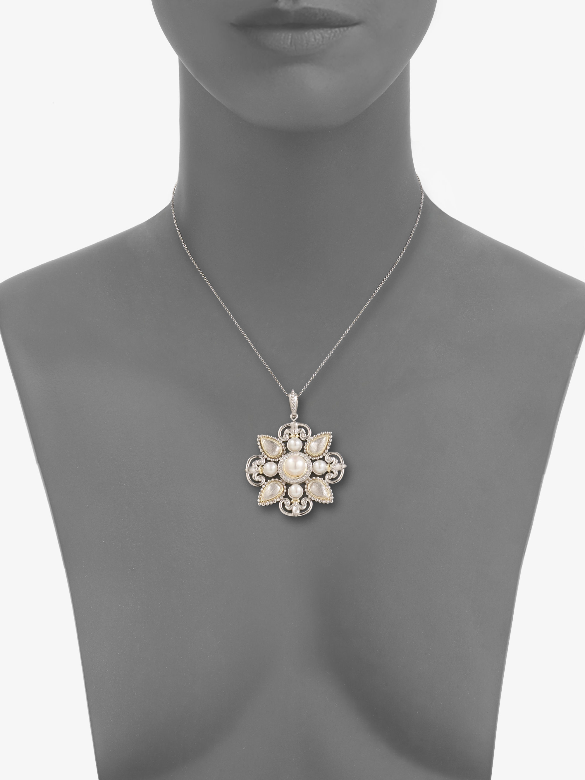 Lyst jude frances diamond pearl 18k gold sterling silver large gallery aloadofball Choice Image