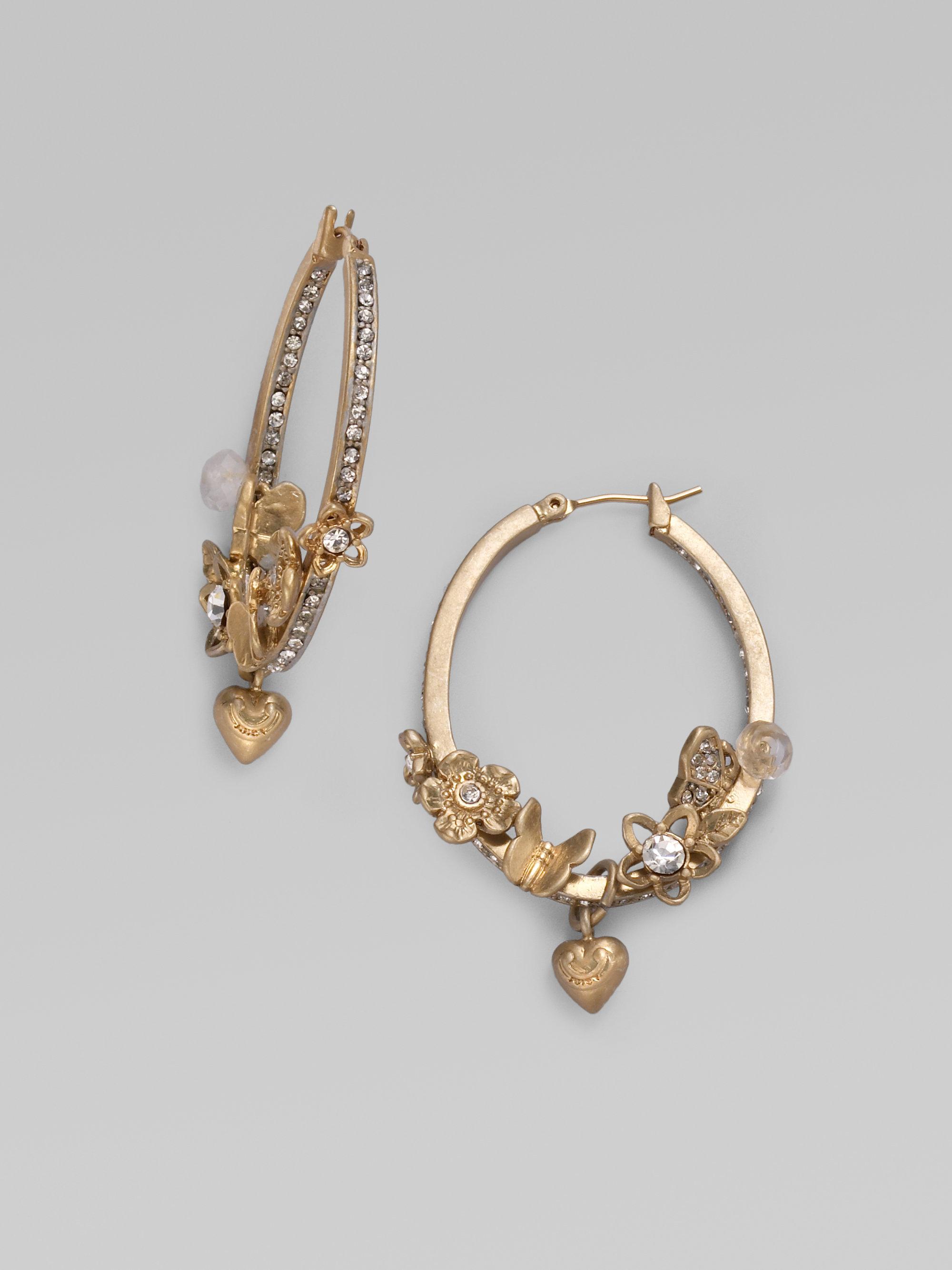 1ea80c6c9c26e Juicy Couture Metallic Oval Flower Hoop Earrings