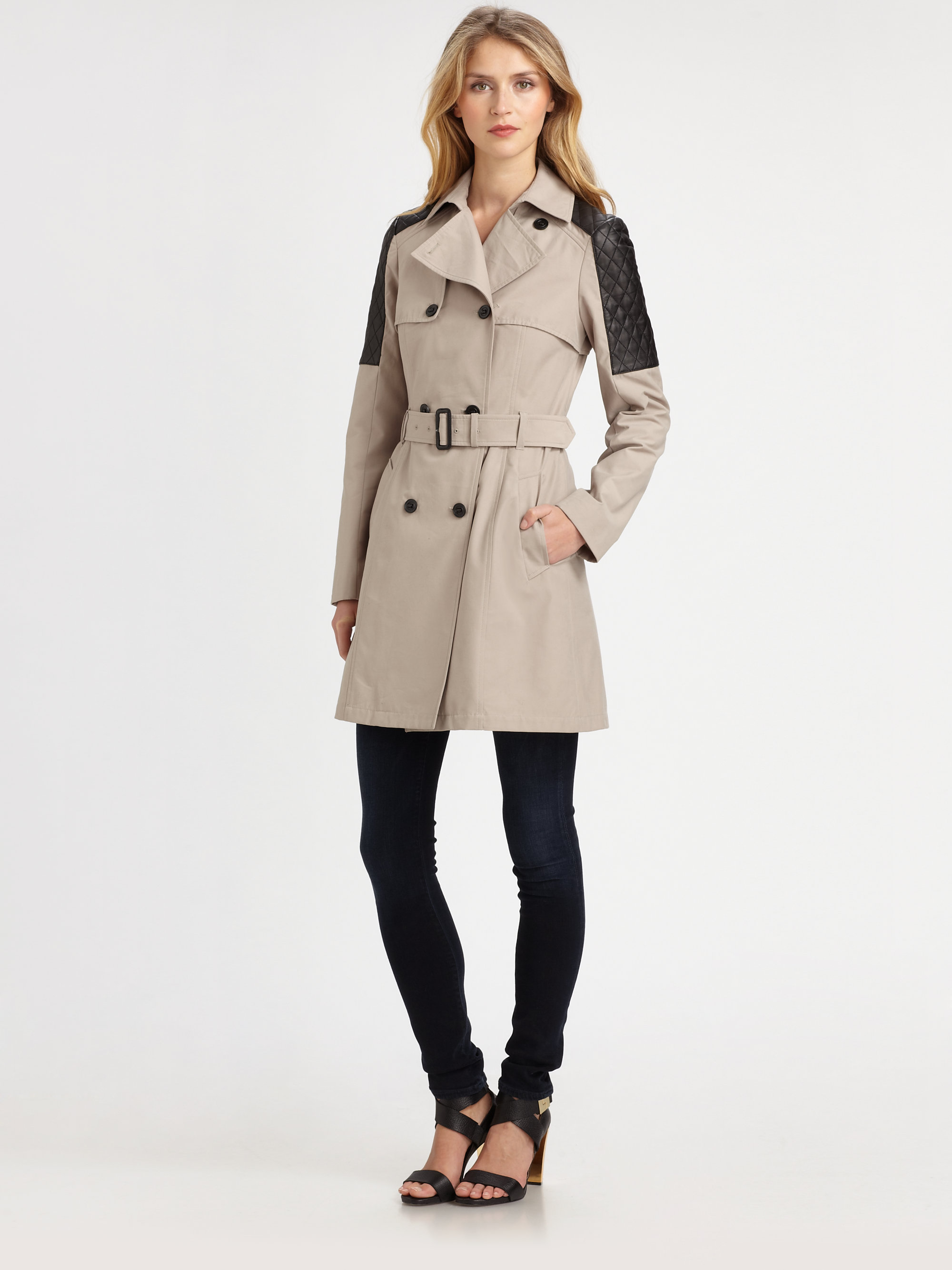 Mackage Lilith Leathertrim Trench Coat In Natural Lyst