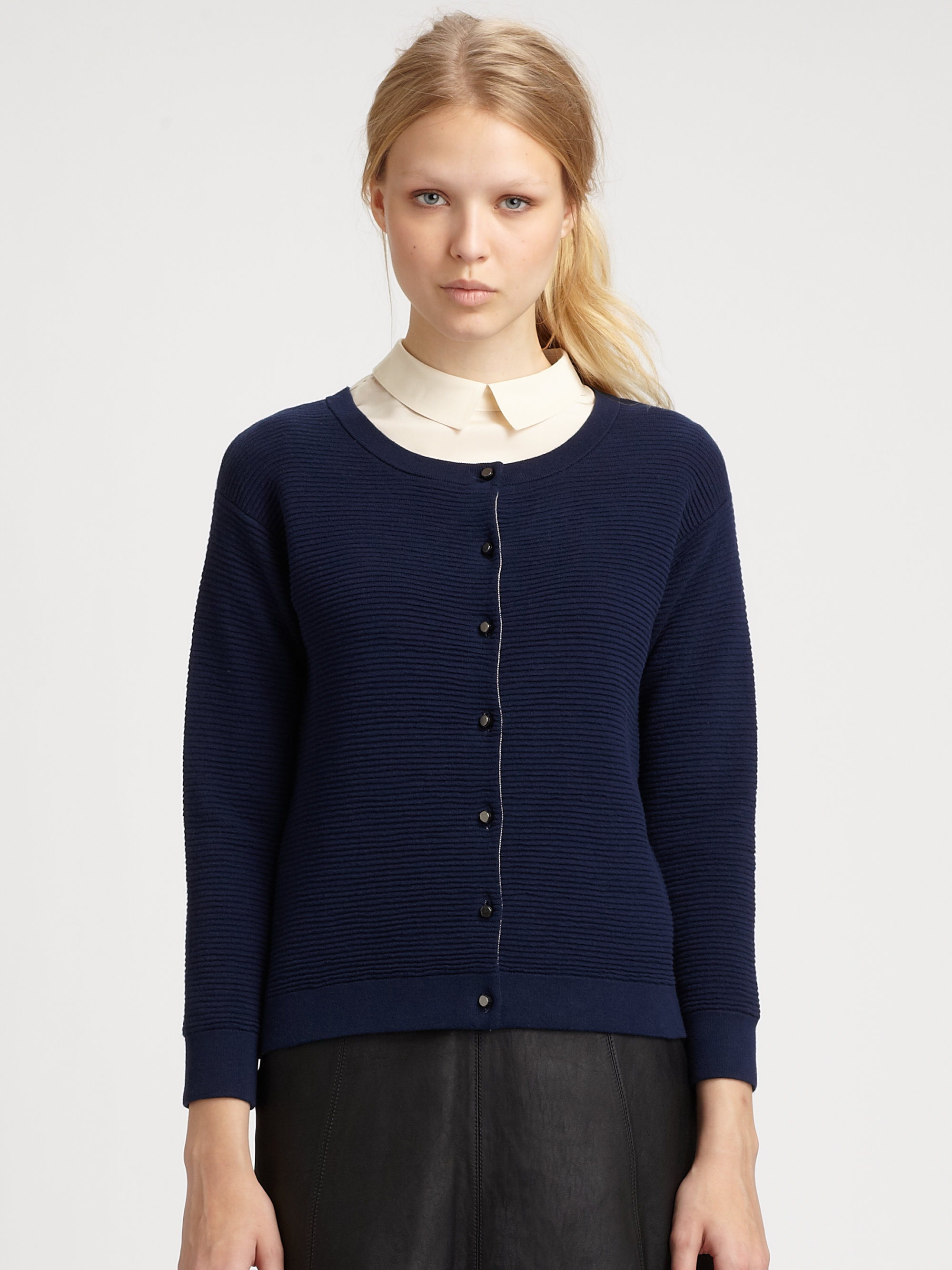 marc by marc jacobs cheryl cardigan sweater in blue lyst. Black Bedroom Furniture Sets. Home Design Ideas