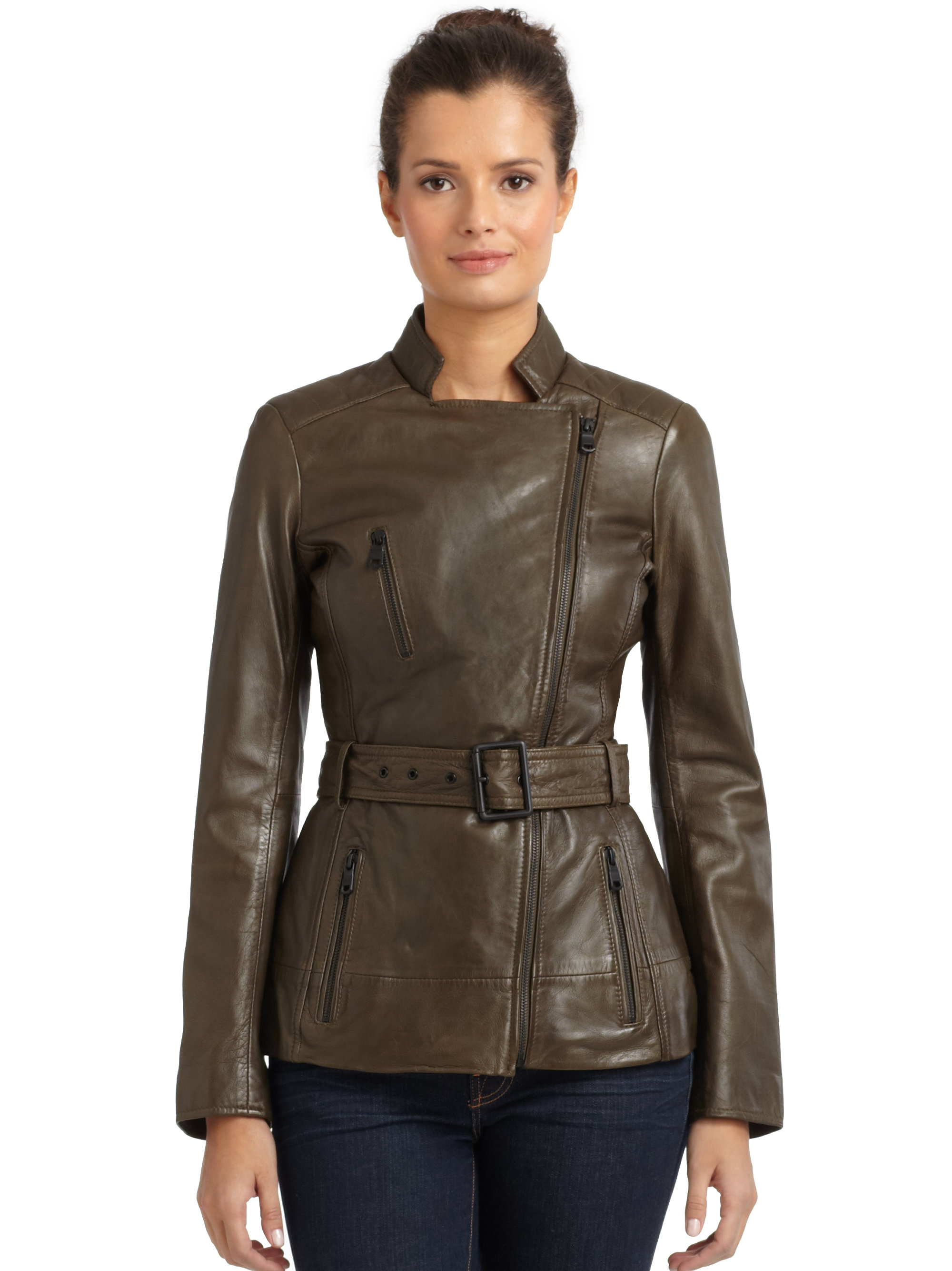 Marc New York Trapper Belted Leather Jacket In Olive
