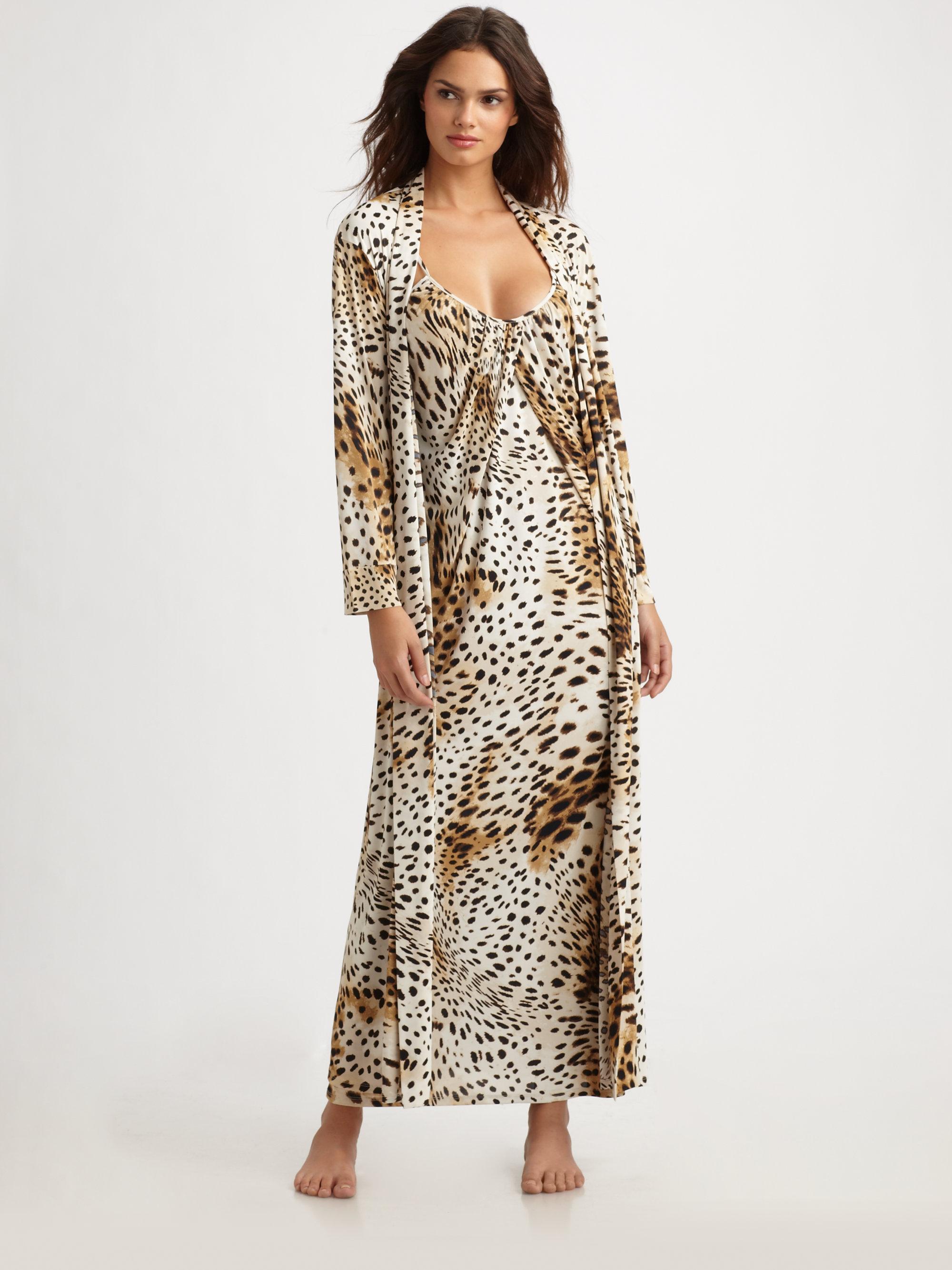 Lyst - Natori Gabon Leopard-print Jersey Robe f6b5b9268