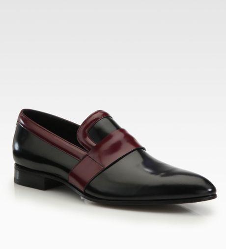 Prada Men S Burgundy Slip In Shoe