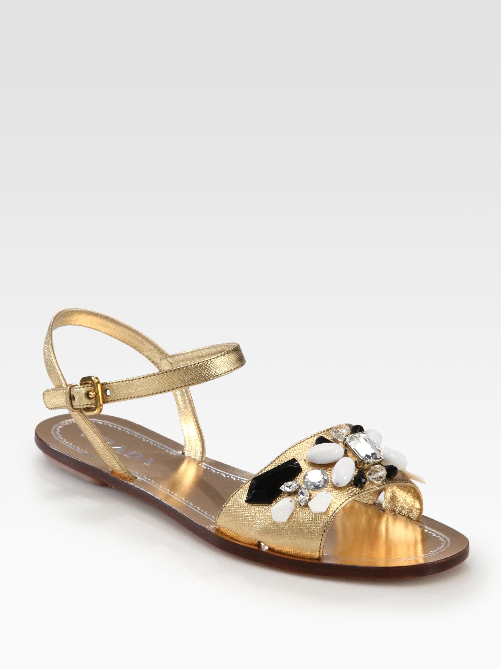Prada Jeweled Saffiano Metallic Leather Sandals In Gold