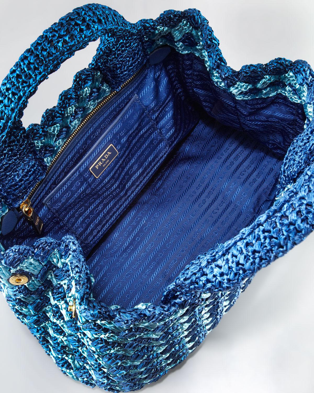 Lyst Prada Bicolor Crocheted Raffia Medium Tote Bag In Blue
