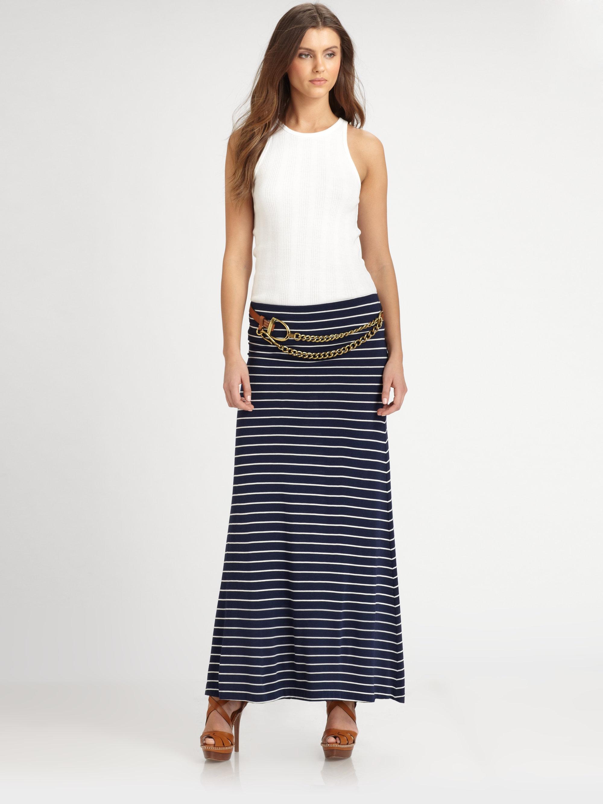 d2f1e9fd1 Ralph Lauren Blue Label Striped Jersey Maxi Skirt in Black - Lyst