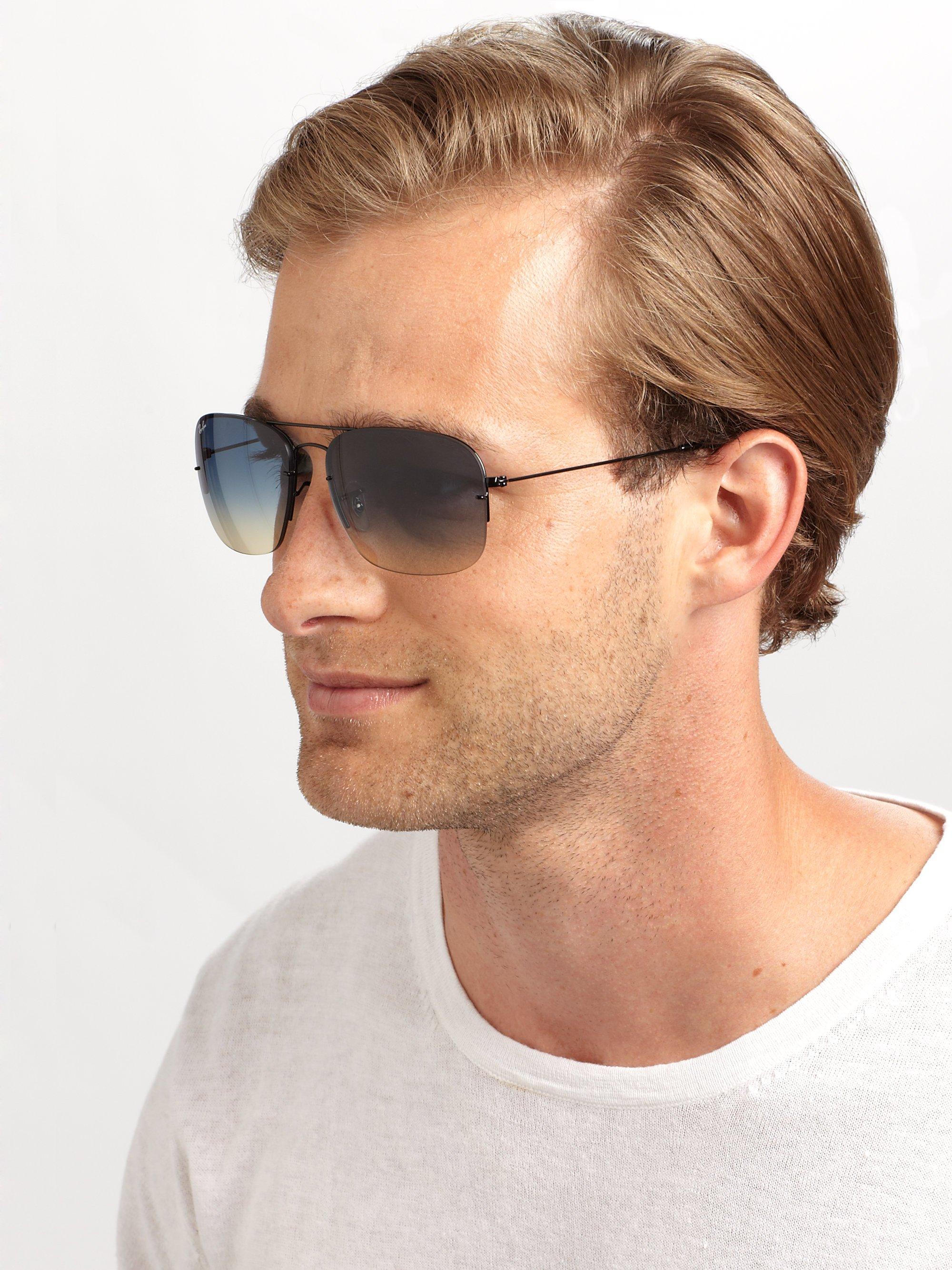lyst rayban double bridge square sunglasses in blue for men