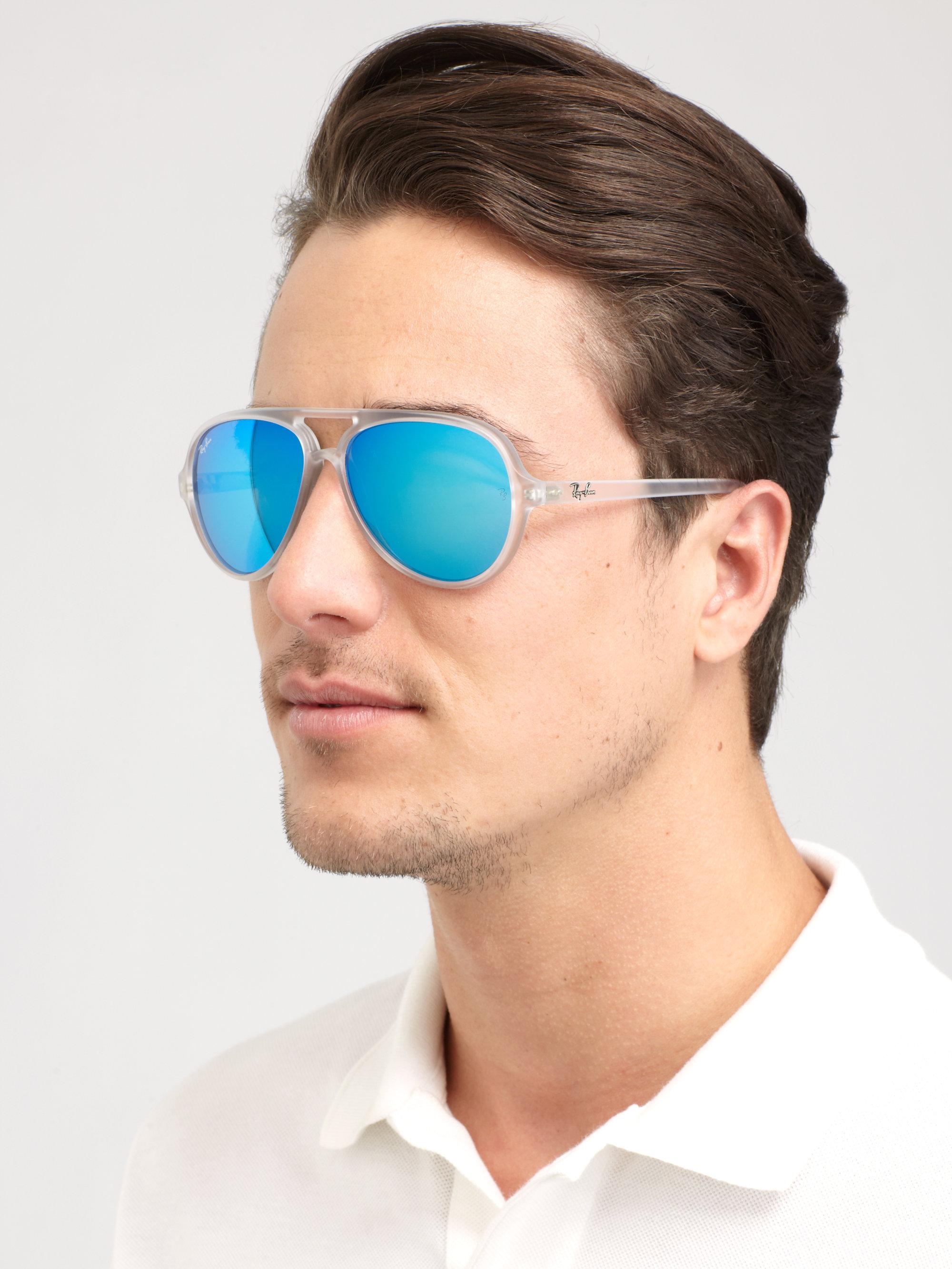 Ray ban aviator blue mirror men for Ray ban aviator verre miroir