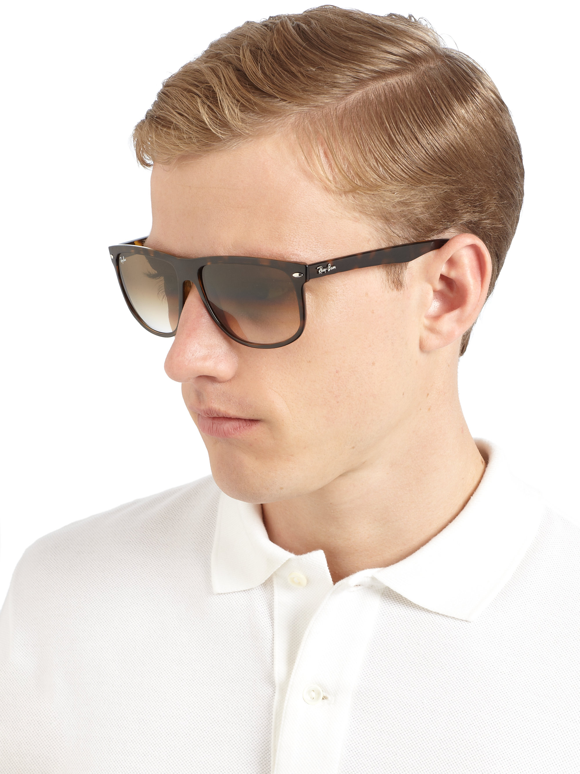 Ray Ban Flat Top Boyfriend Sunglasses In Black For Men Lyst