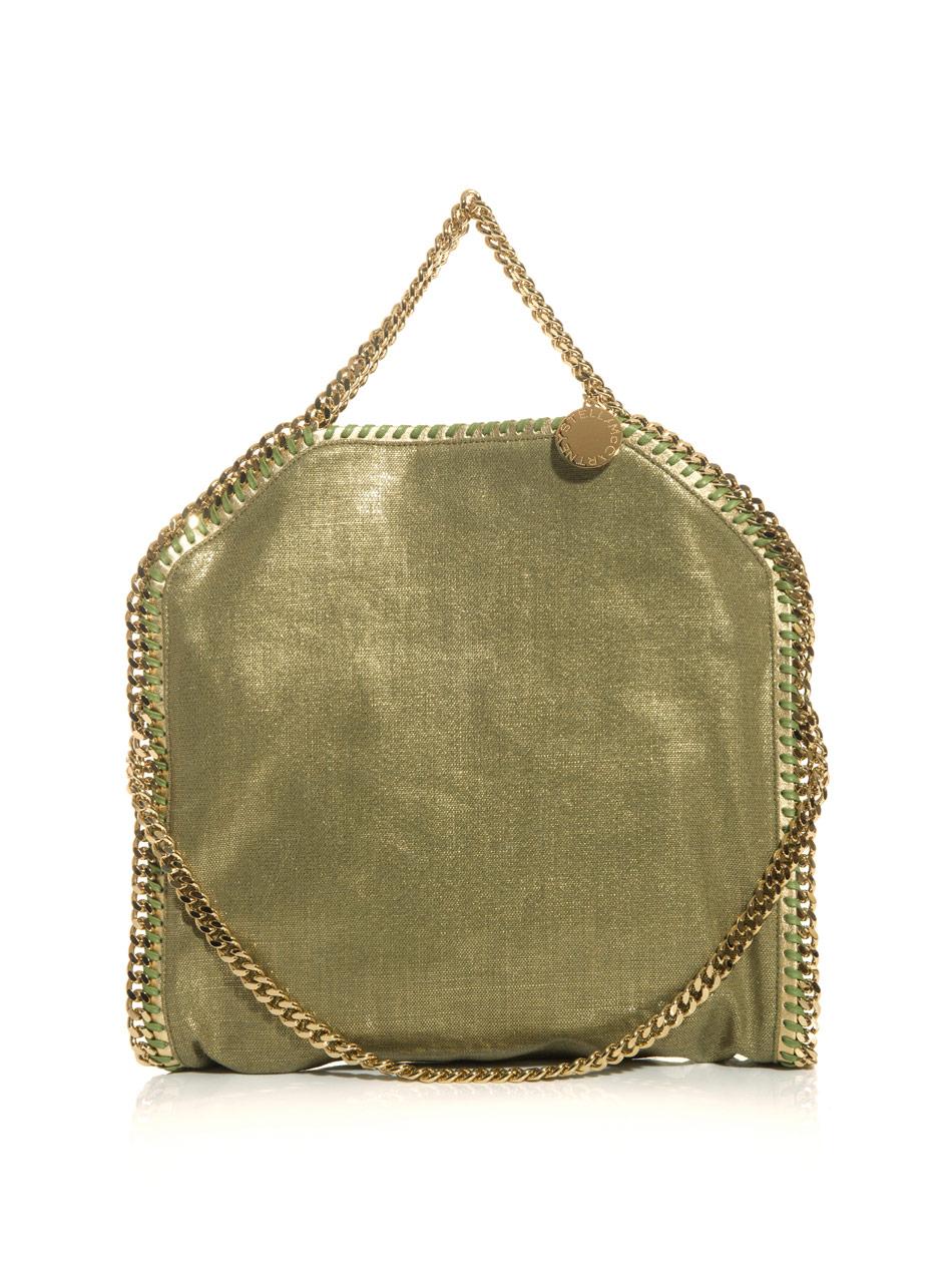 stella mccartney falabella metallic linen bag in gold lyst. Black Bedroom Furniture Sets. Home Design Ideas