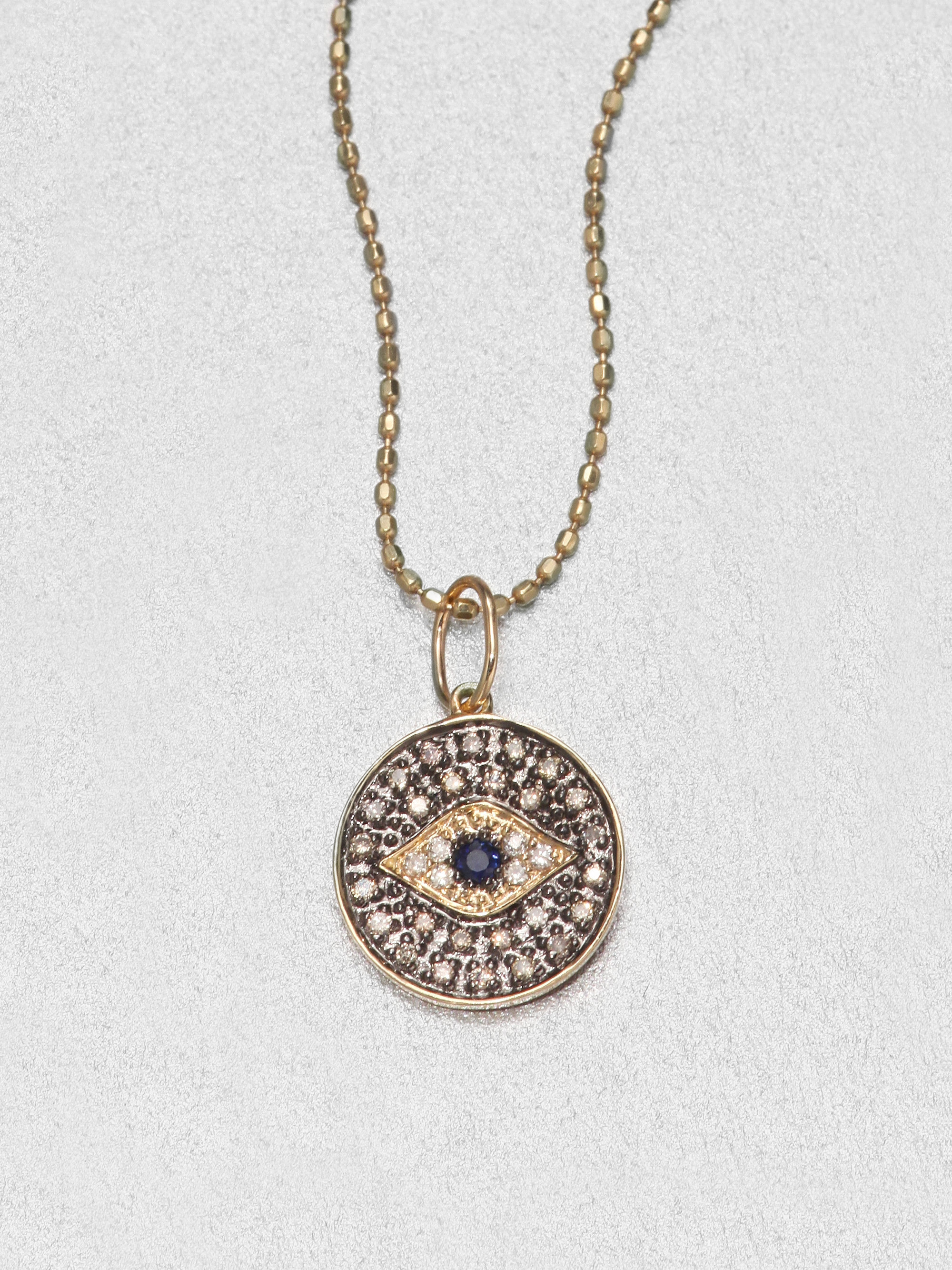 Sydney evan Diamond & 14k Gold Small Evil Eye Medallion Pendant