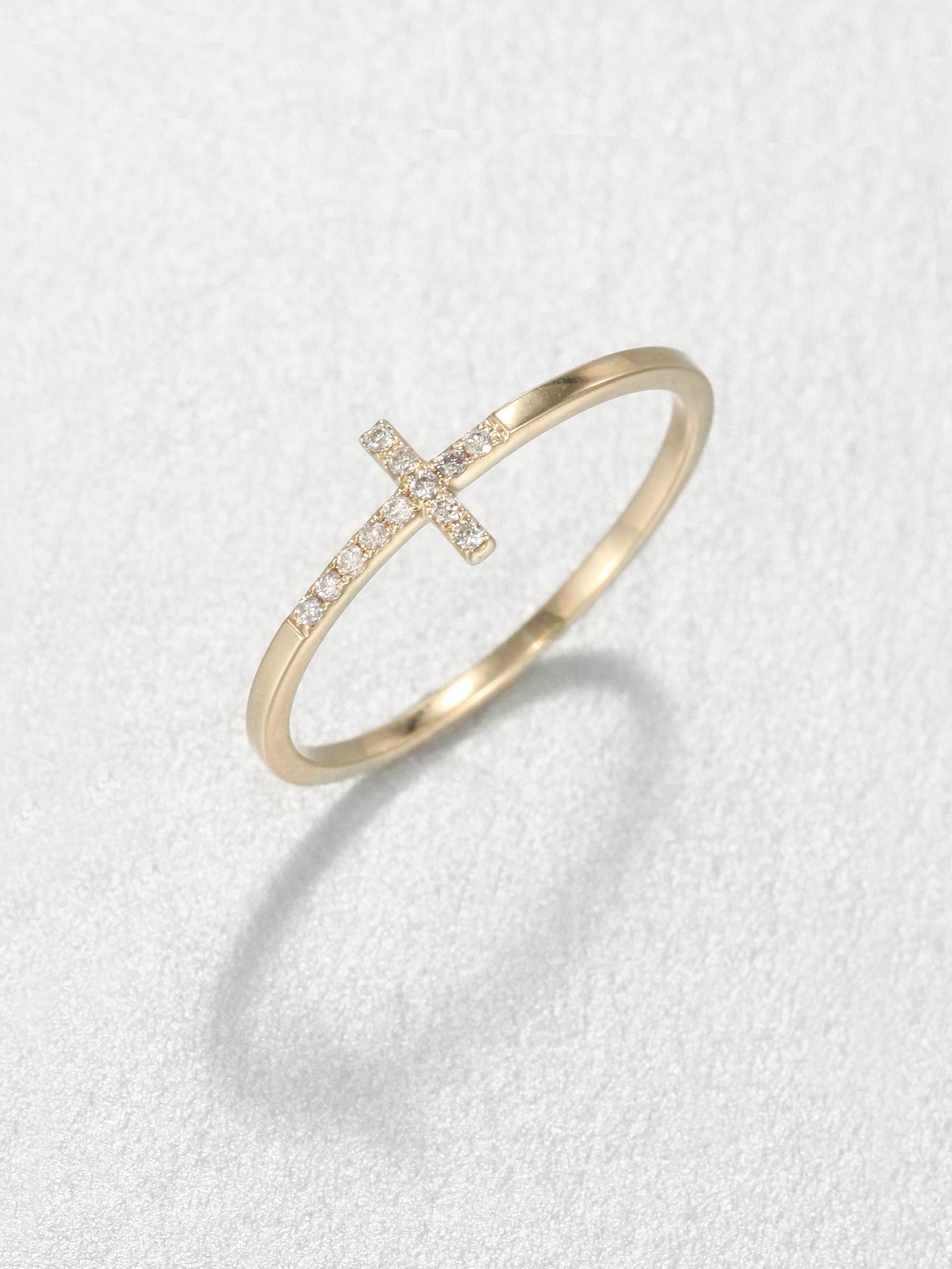 Sydney Evan Diamond Amp 14k Yellow Gold Bent Cross Ring In