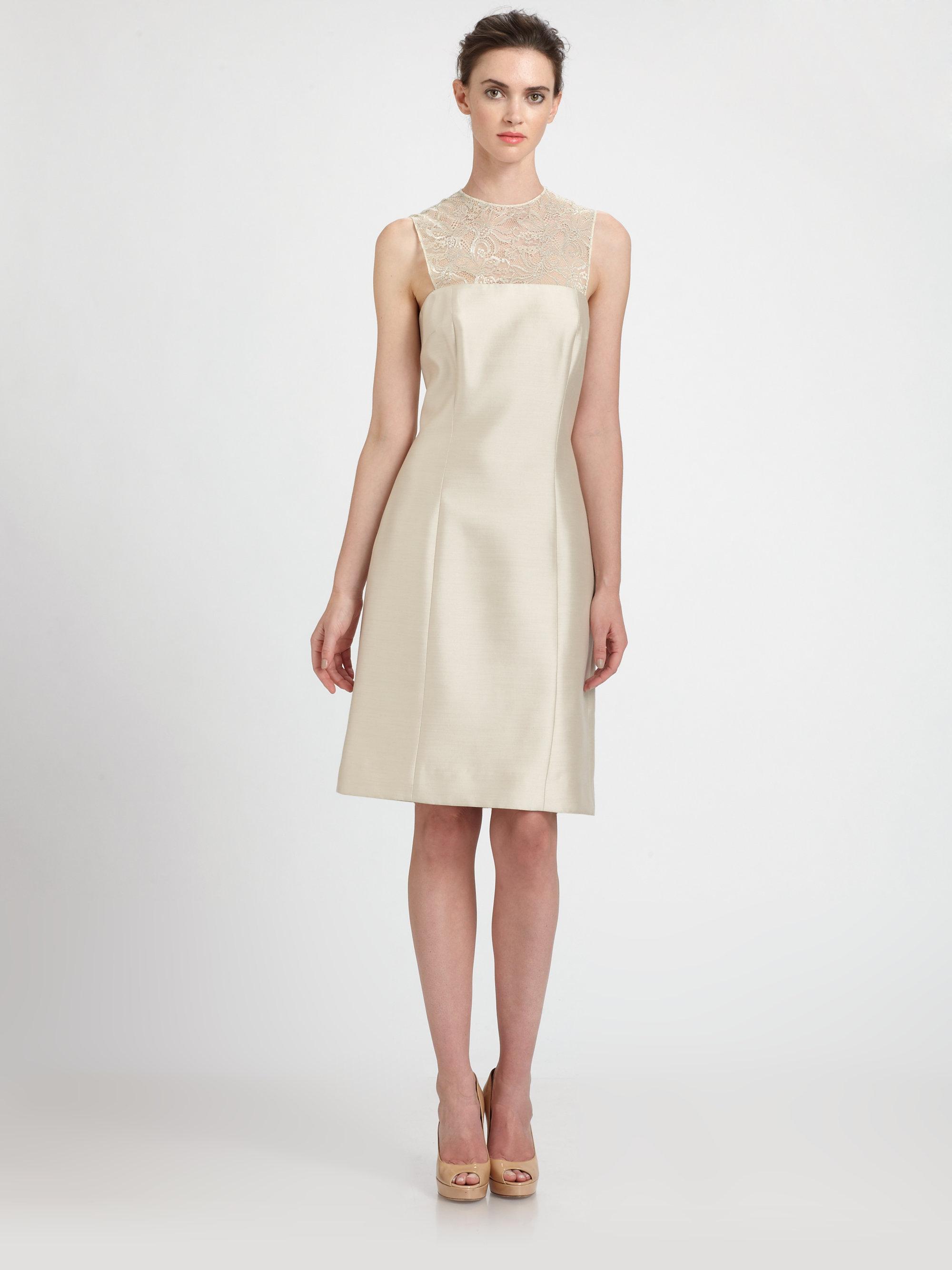 Teri Jon Lace Yoke Silk Gazar Dress In Natural Lyst