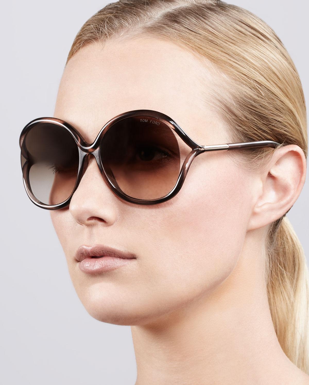 06e18430fa13 Lyst - Tom Ford Rhi Opentemple Oversized Sunglasses in Brown