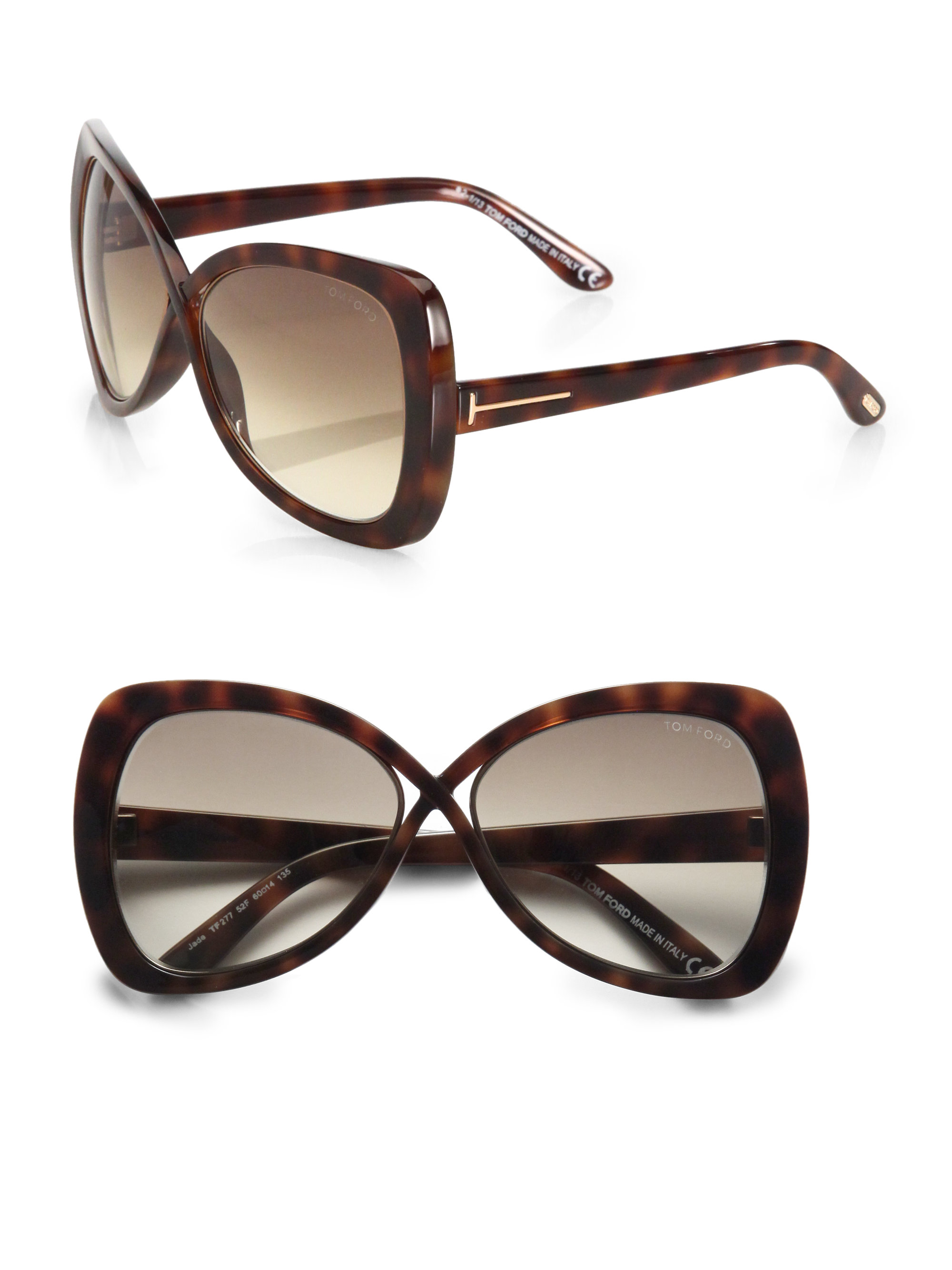 2157bb604a26 Lyst - Tom Ford Jade Injected Square Sunglasses in Brown