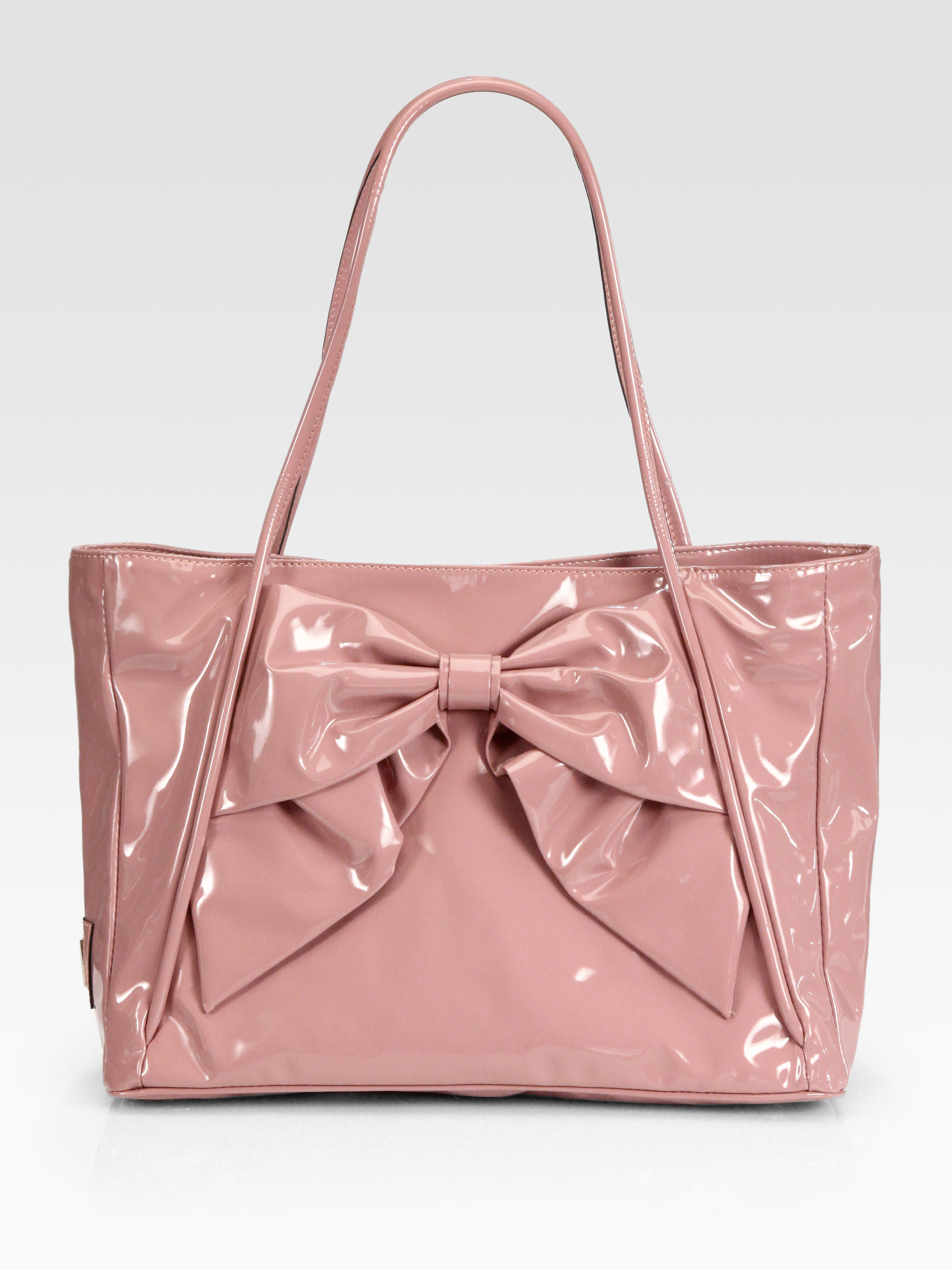 Valentino Betty Patent Leather Bow Tote in Pink | Lyst