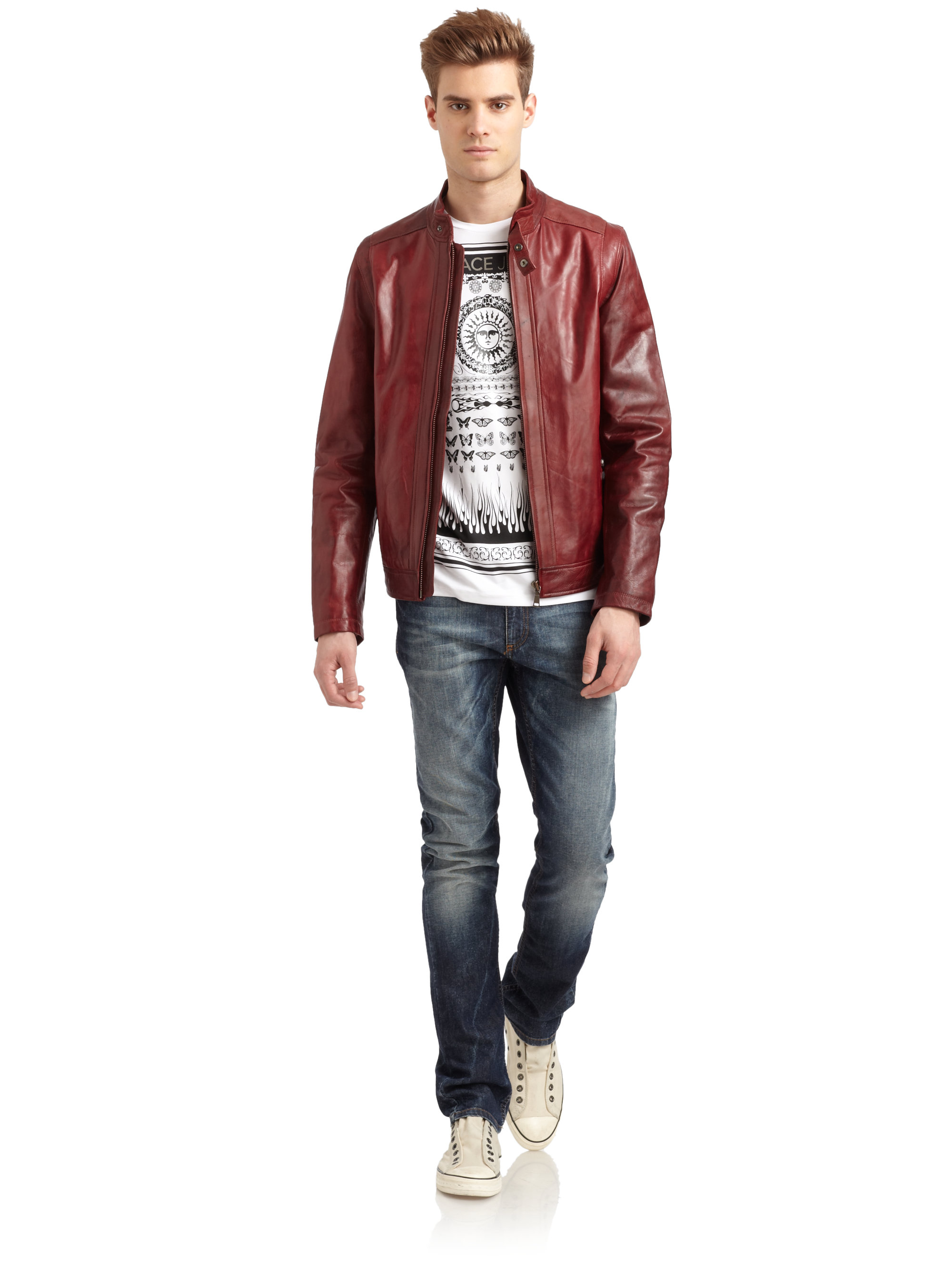 Versace Jeans Variegated Leather Jacket in Red for Men - Lyst