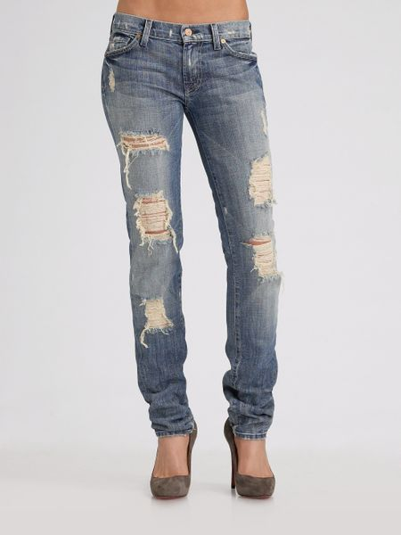 7 for all mankind roxanne skinny distressed jeans in blue. Black Bedroom Furniture Sets. Home Design Ideas