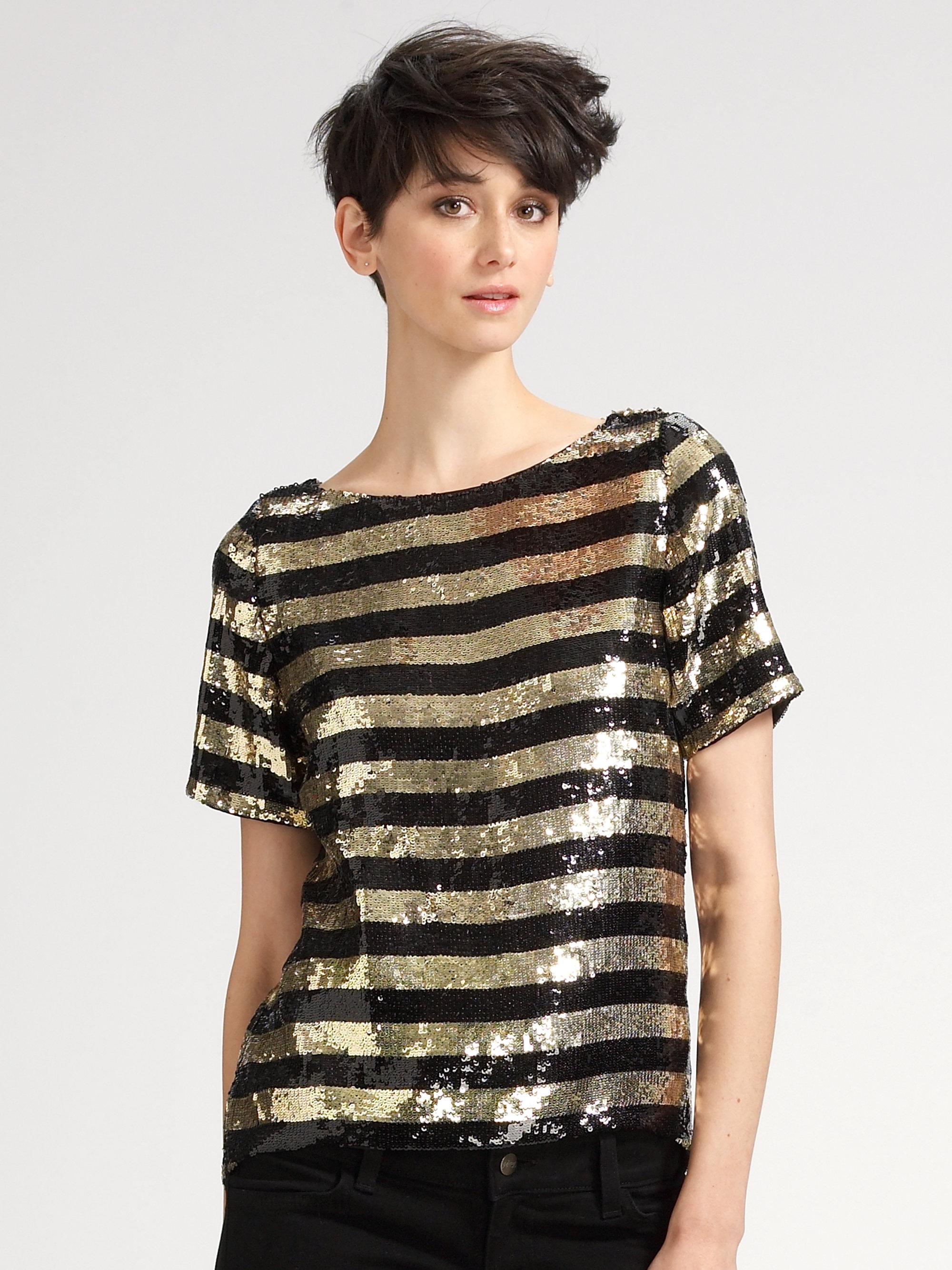2c25b7a8d3 Alice + Olivia Metallic Sequin Striped Shirt