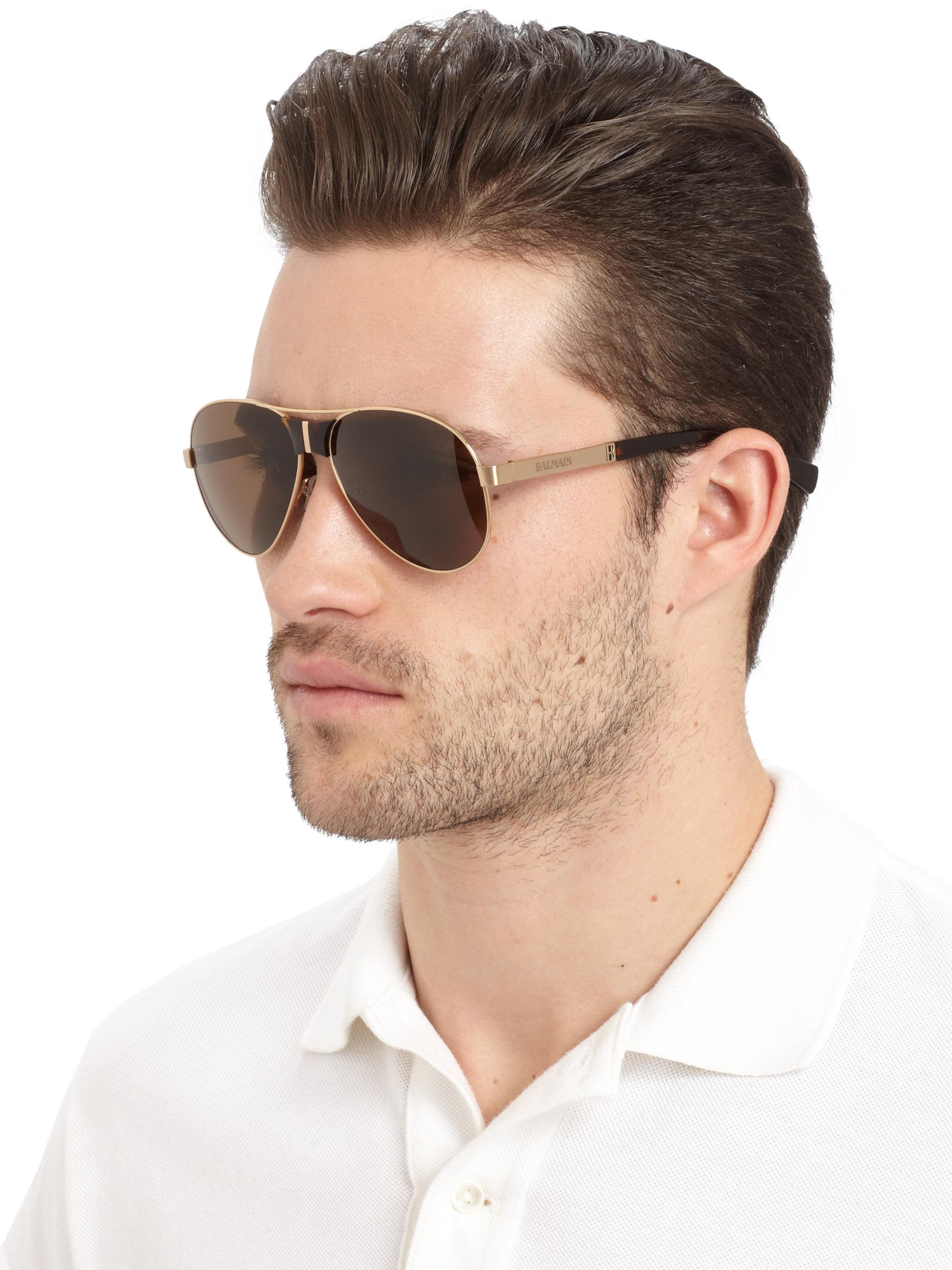 Balmain Aviator Titanium Acetate Sunglasses Gold Brown For Men