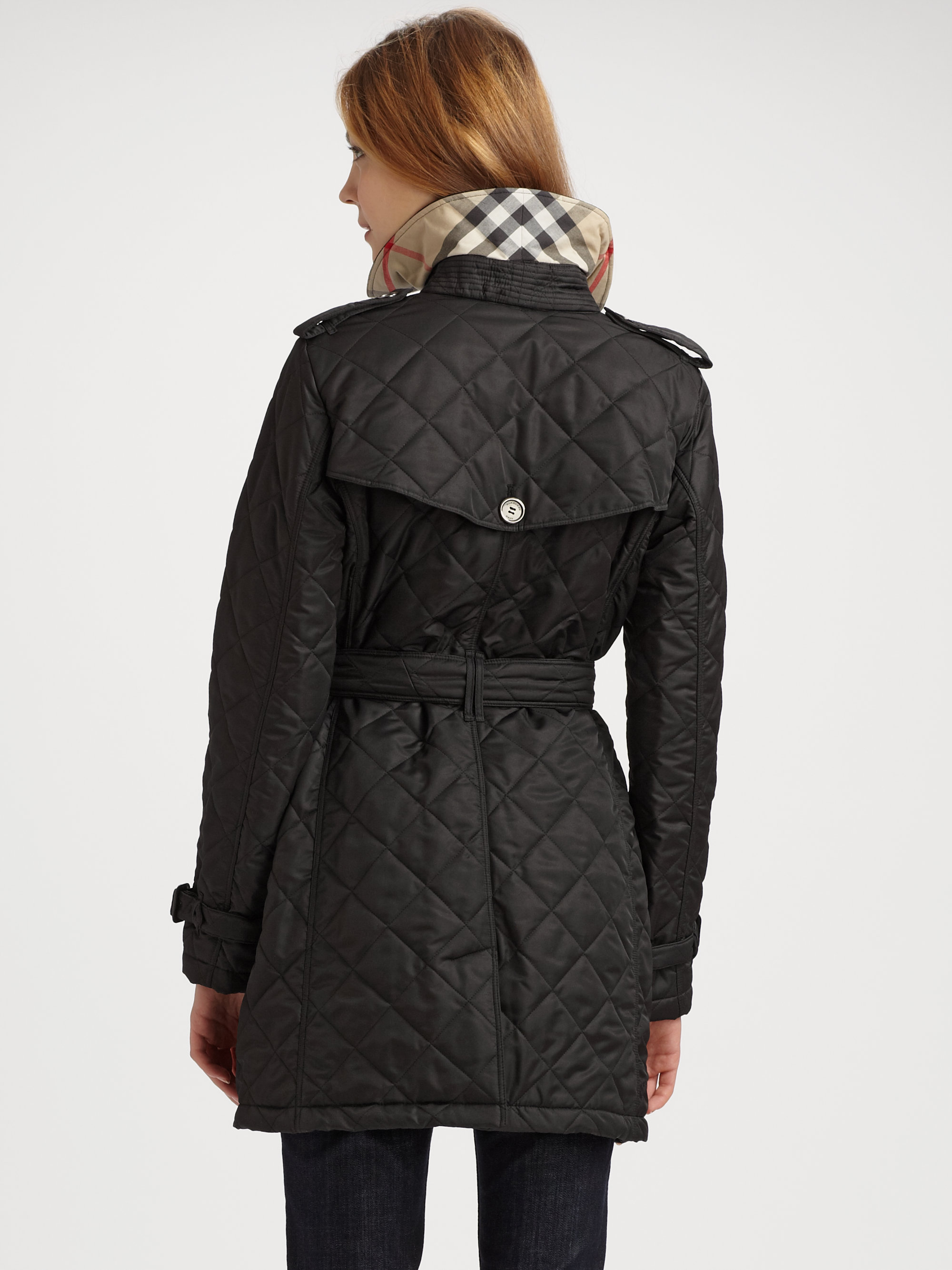 Burberry Brit Quilted Trench Jacket In Black Lyst