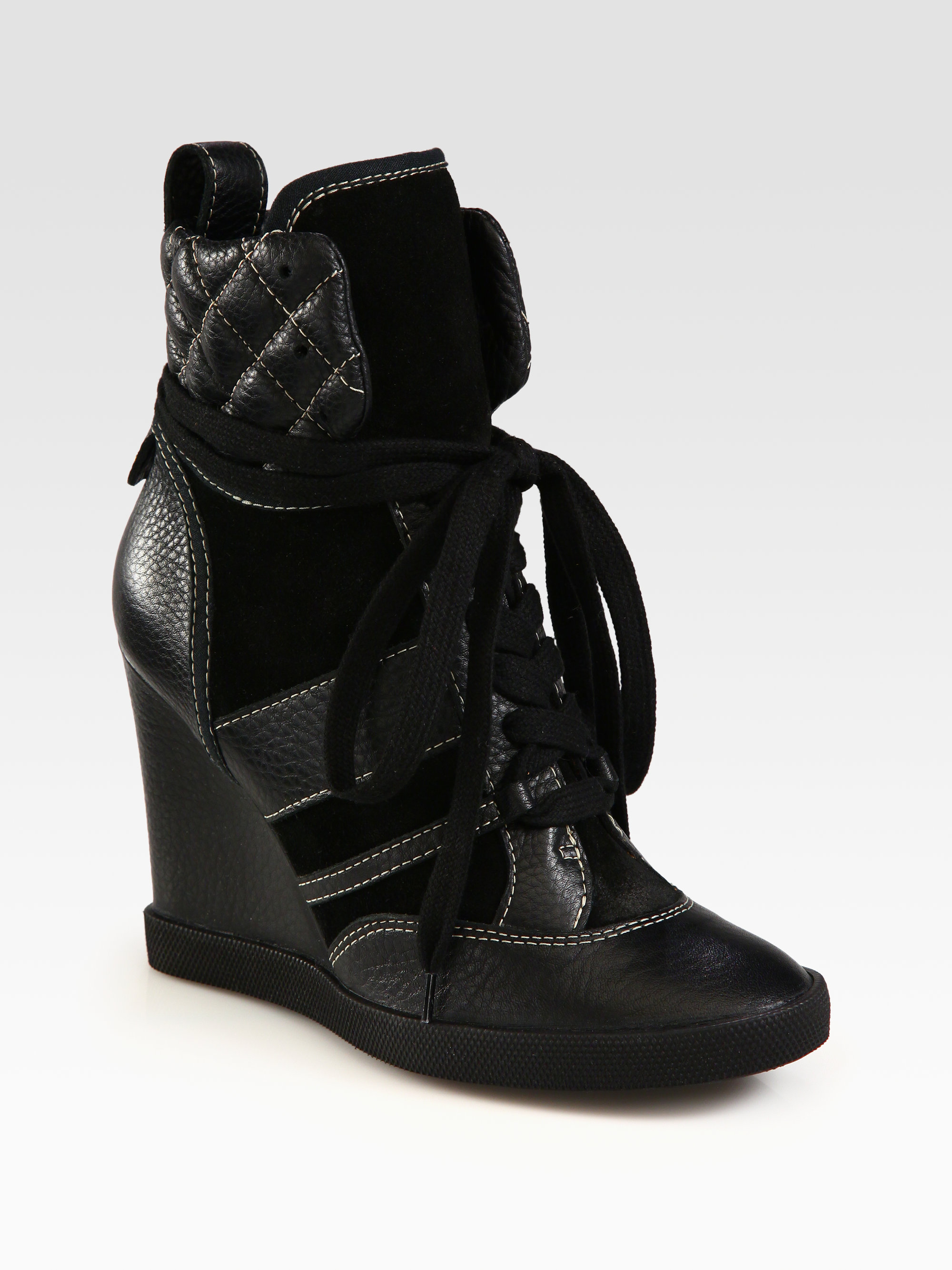 chlo leather and suede high top wedge sneakers in black lyst. Black Bedroom Furniture Sets. Home Design Ideas