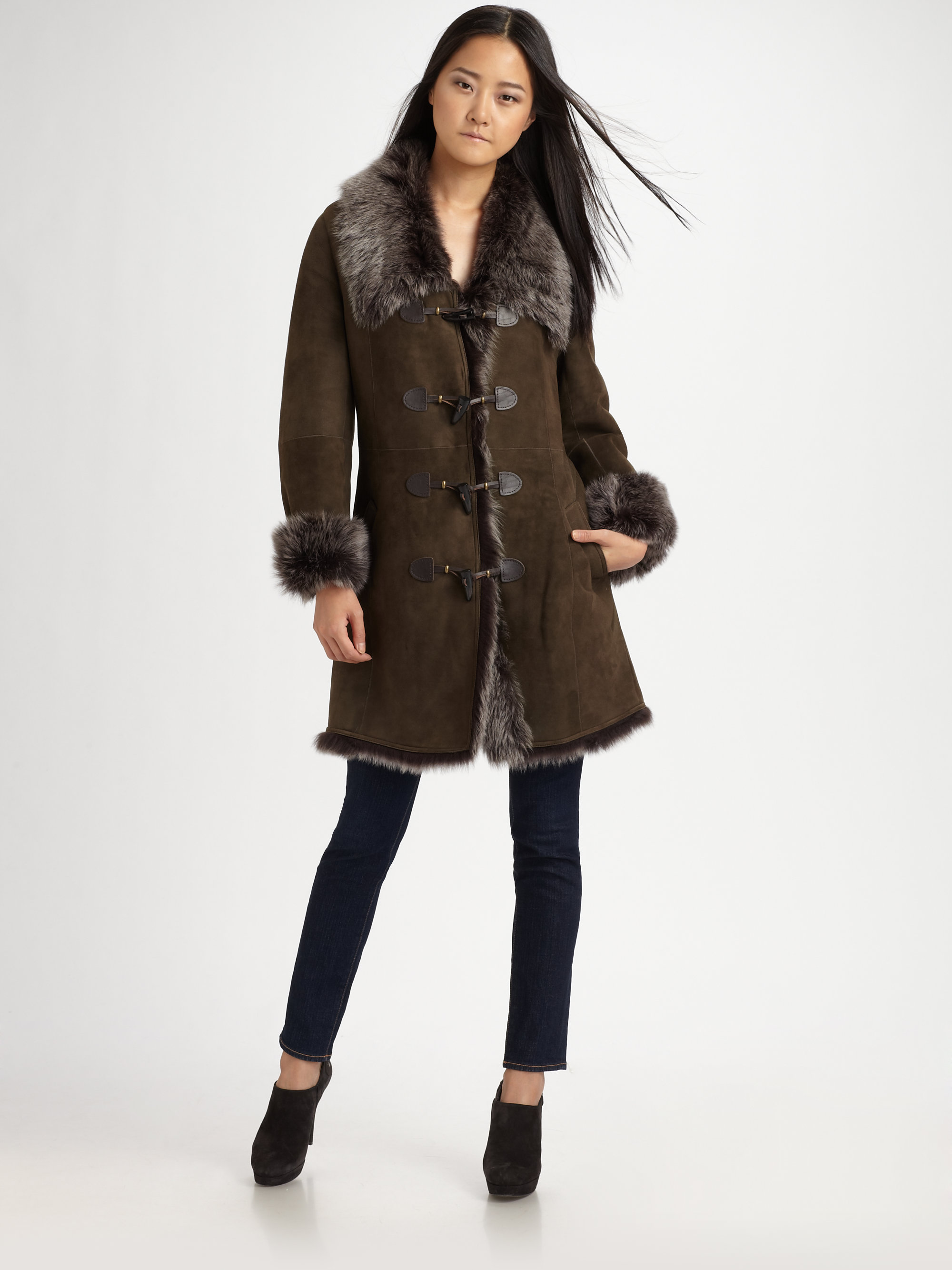 Cole haan Toscana Shearling Duffle Coat in Black | Lyst