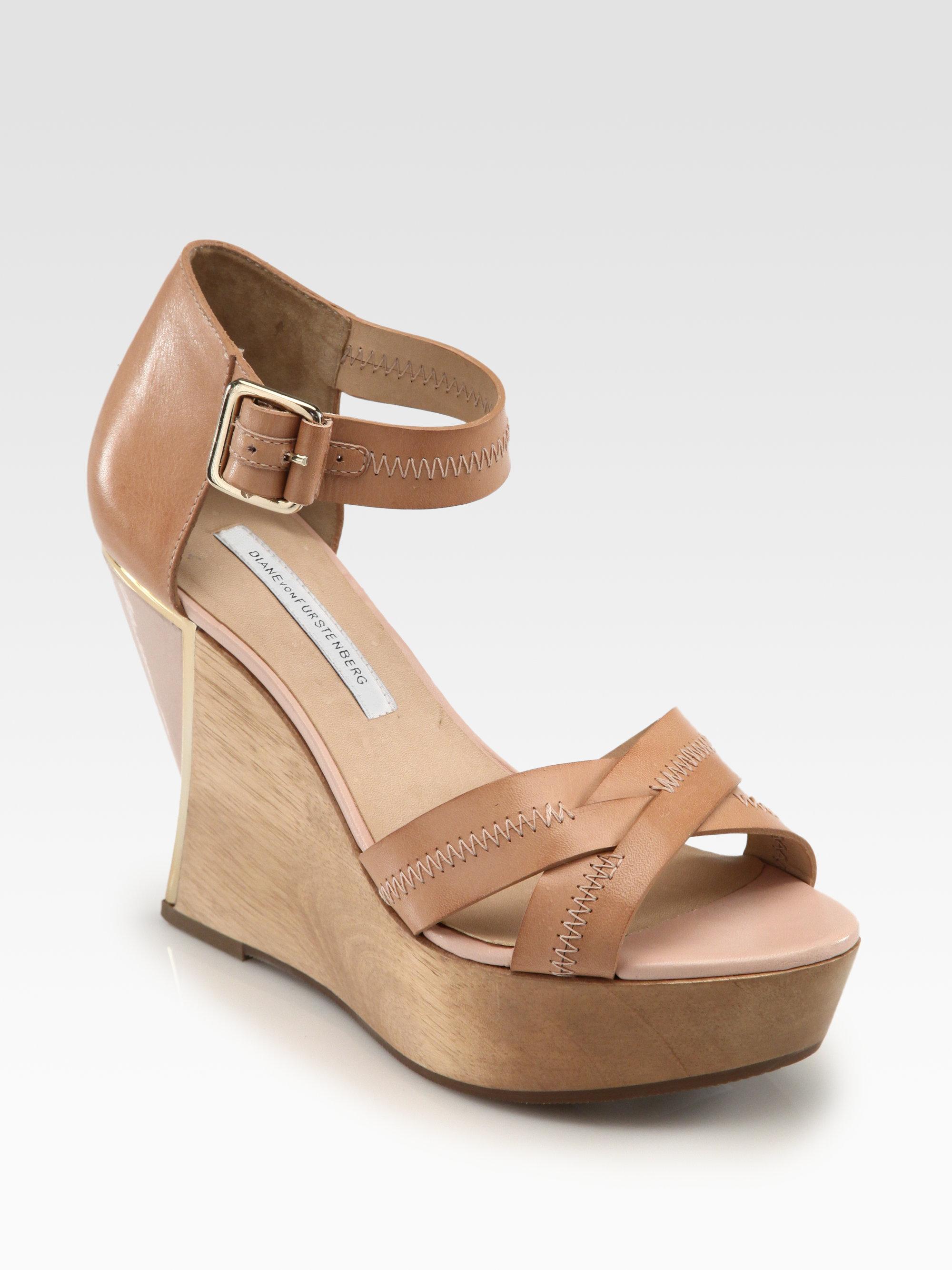 diane furstenberg alara leather curved wedge sandals