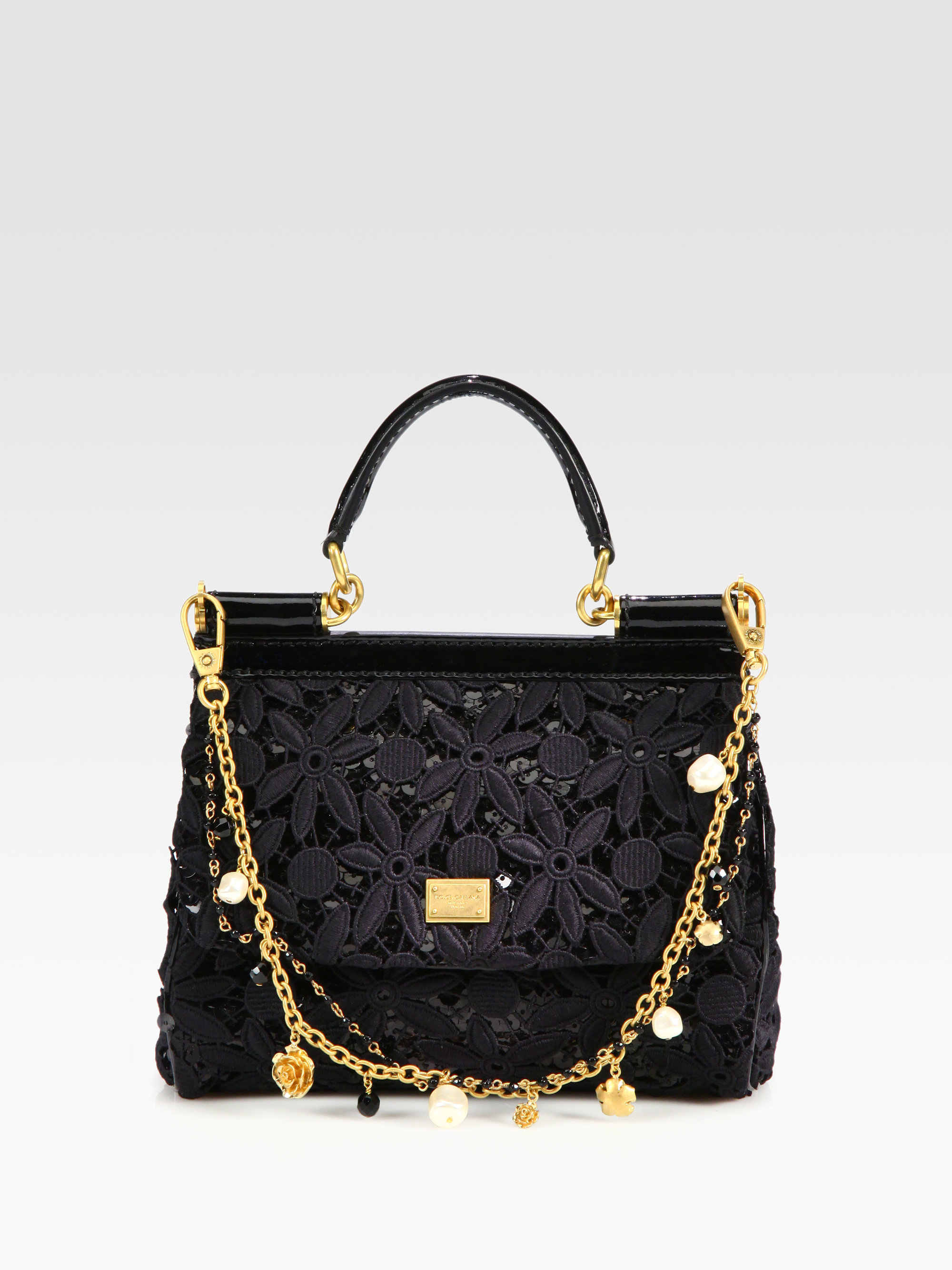 7b019f8a17dd Lyst - Dolce   Gabbana Mini Miss Sicily Floral Lace Sequins Satchel ...