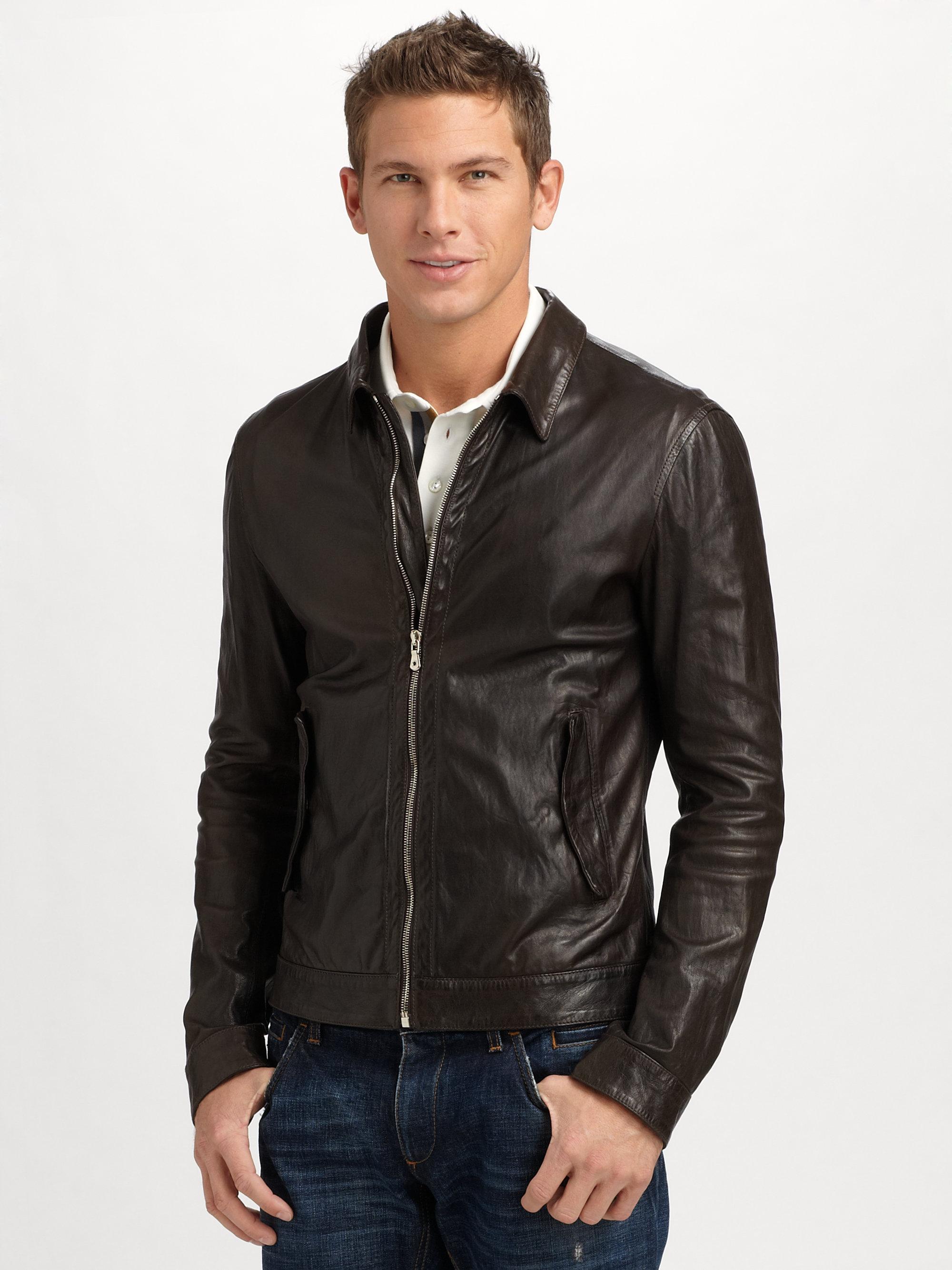 dolce gabbana washed leather jacket in brown for men lyst. Black Bedroom Furniture Sets. Home Design Ideas