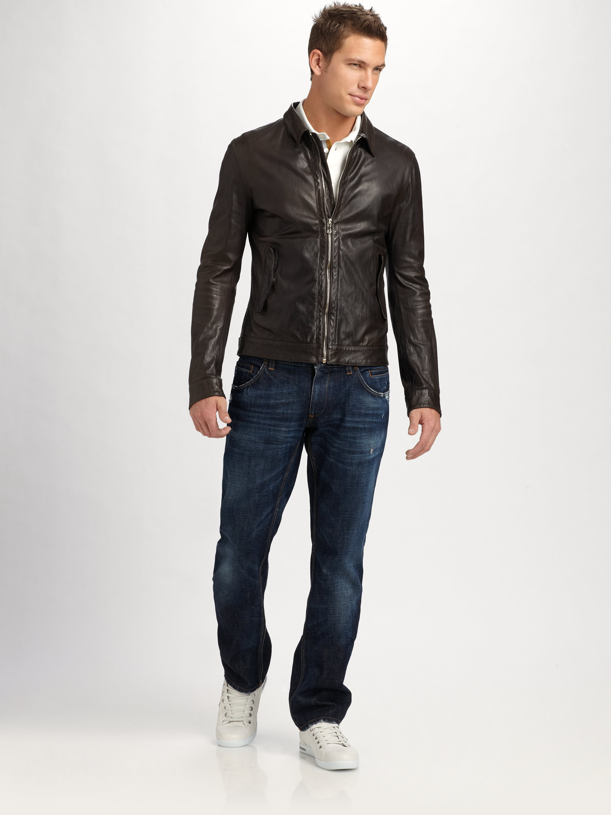 Dolce Amp Gabbana Washed Leather Jacket In Brown For Men Lyst