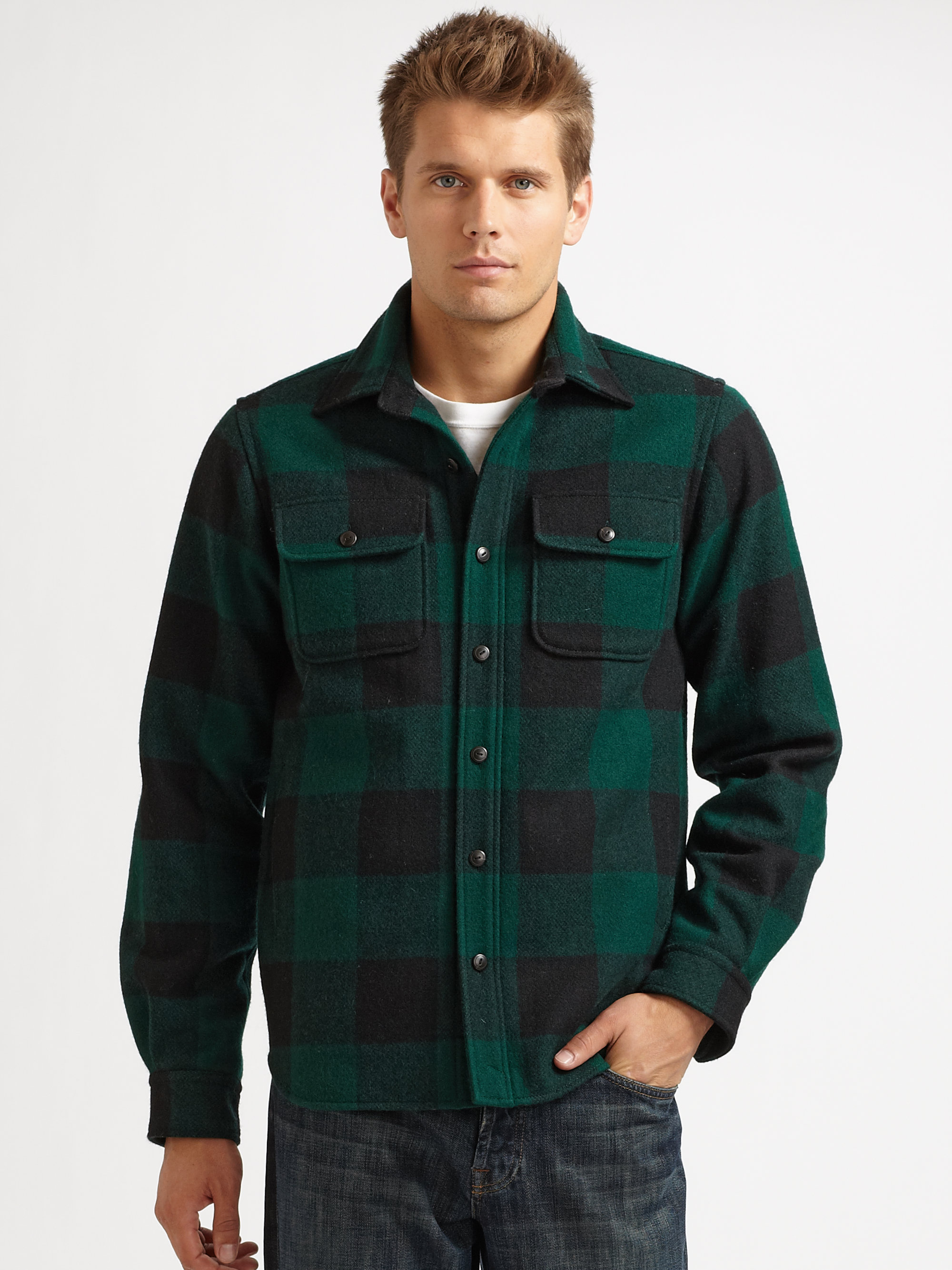 Elizabeth and james Wool Check Shirt Jacket in Green for Men | Lyst